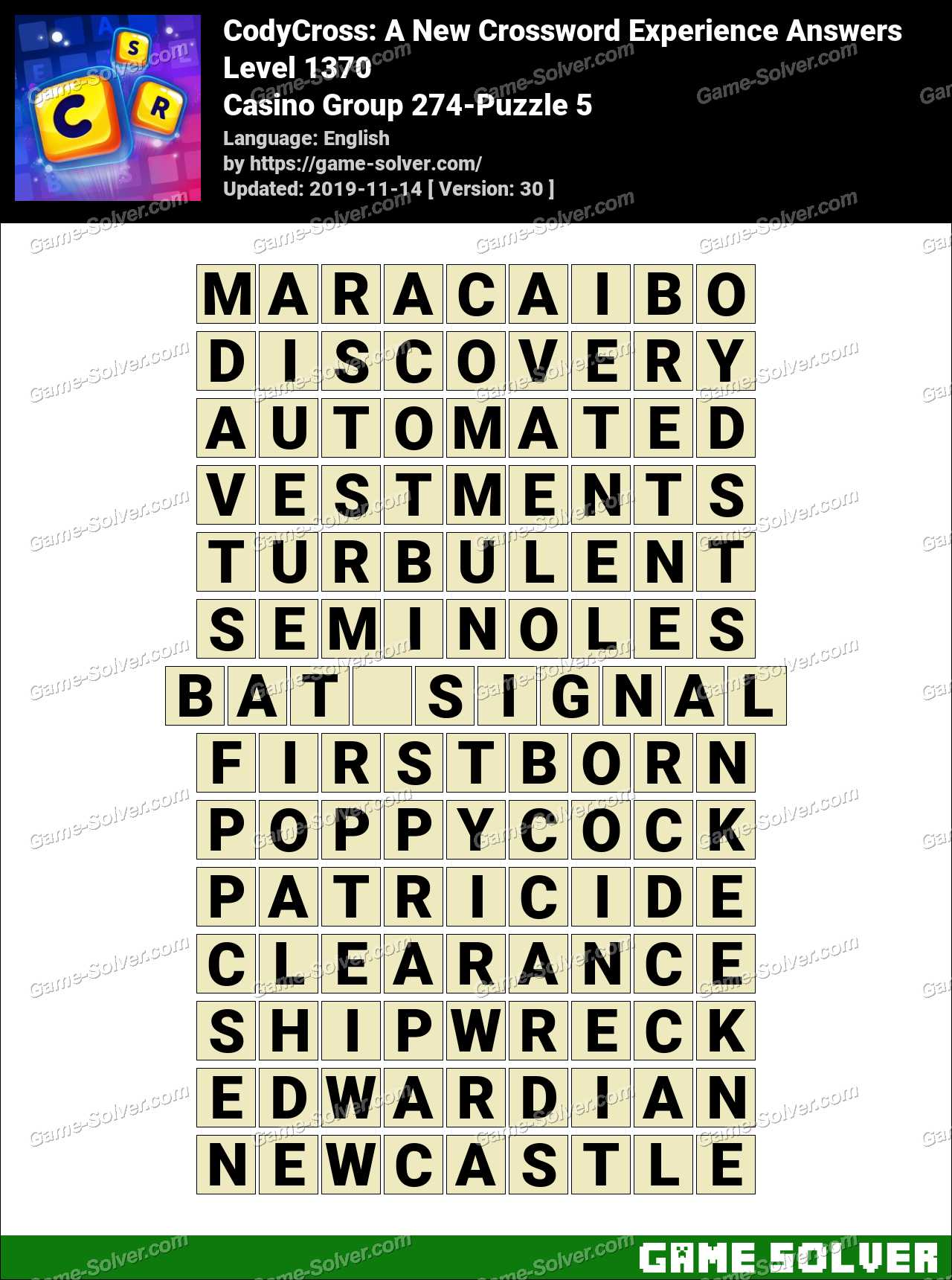 CodyCross Casino Group 274-Puzzle 5 Answers