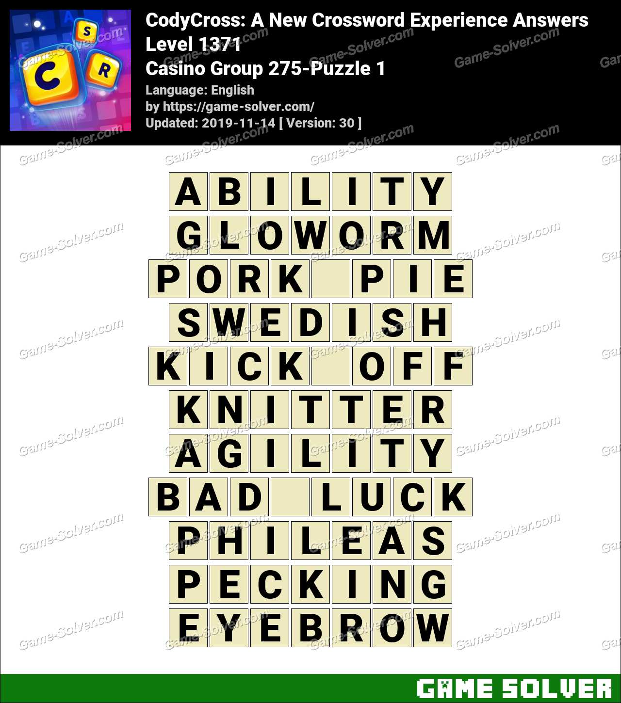 CodyCross Casino Group 275-Puzzle 1 Answers