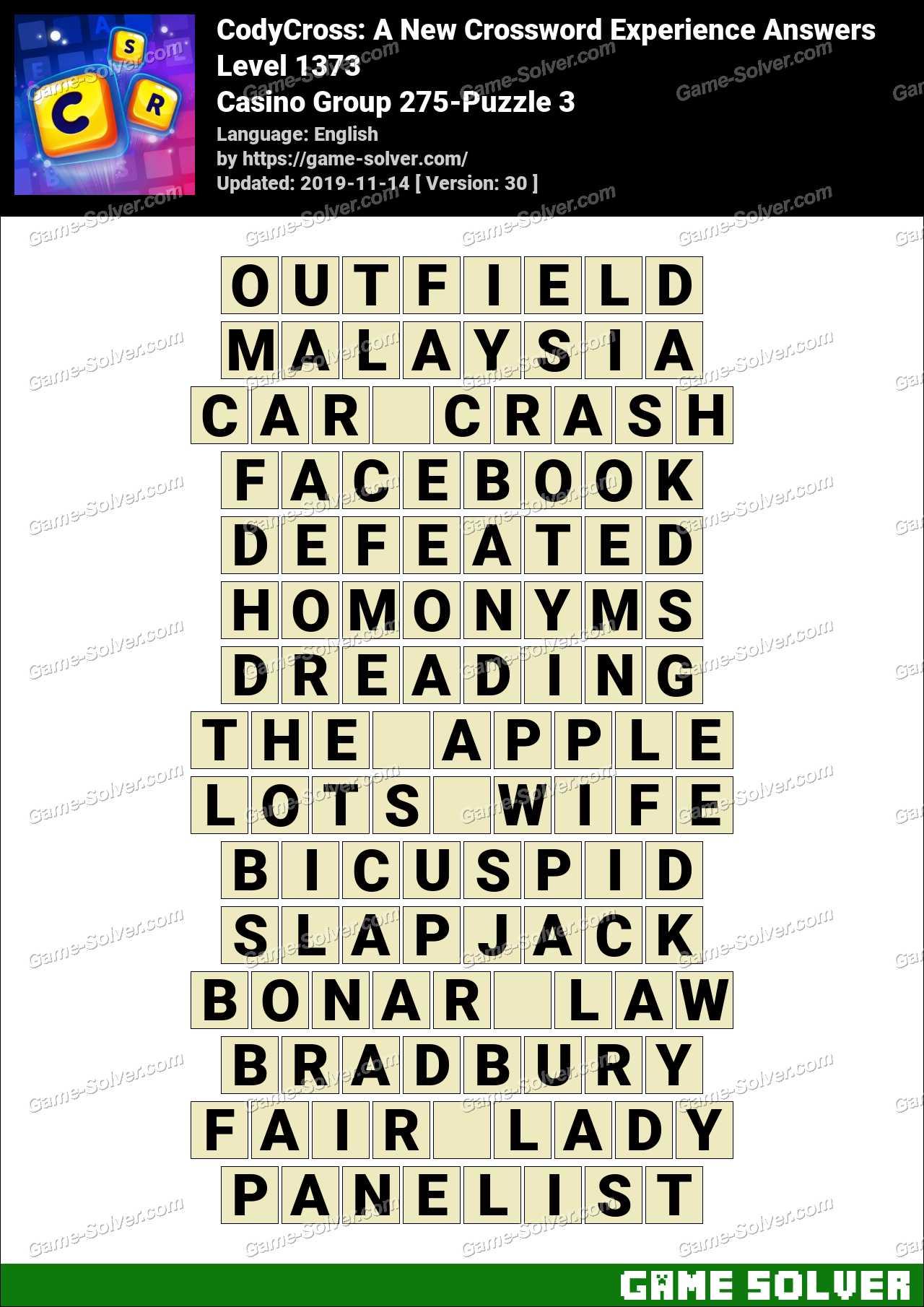 CodyCross Casino Group 275-Puzzle 3 Answers