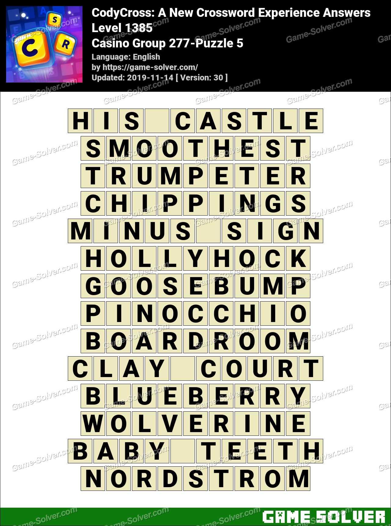 CodyCross Casino Group 277-Puzzle 5 Answers