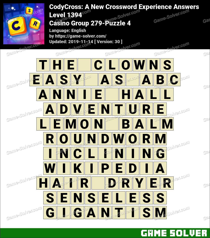 CodyCross Casino Group 279-Puzzle 4 Answers