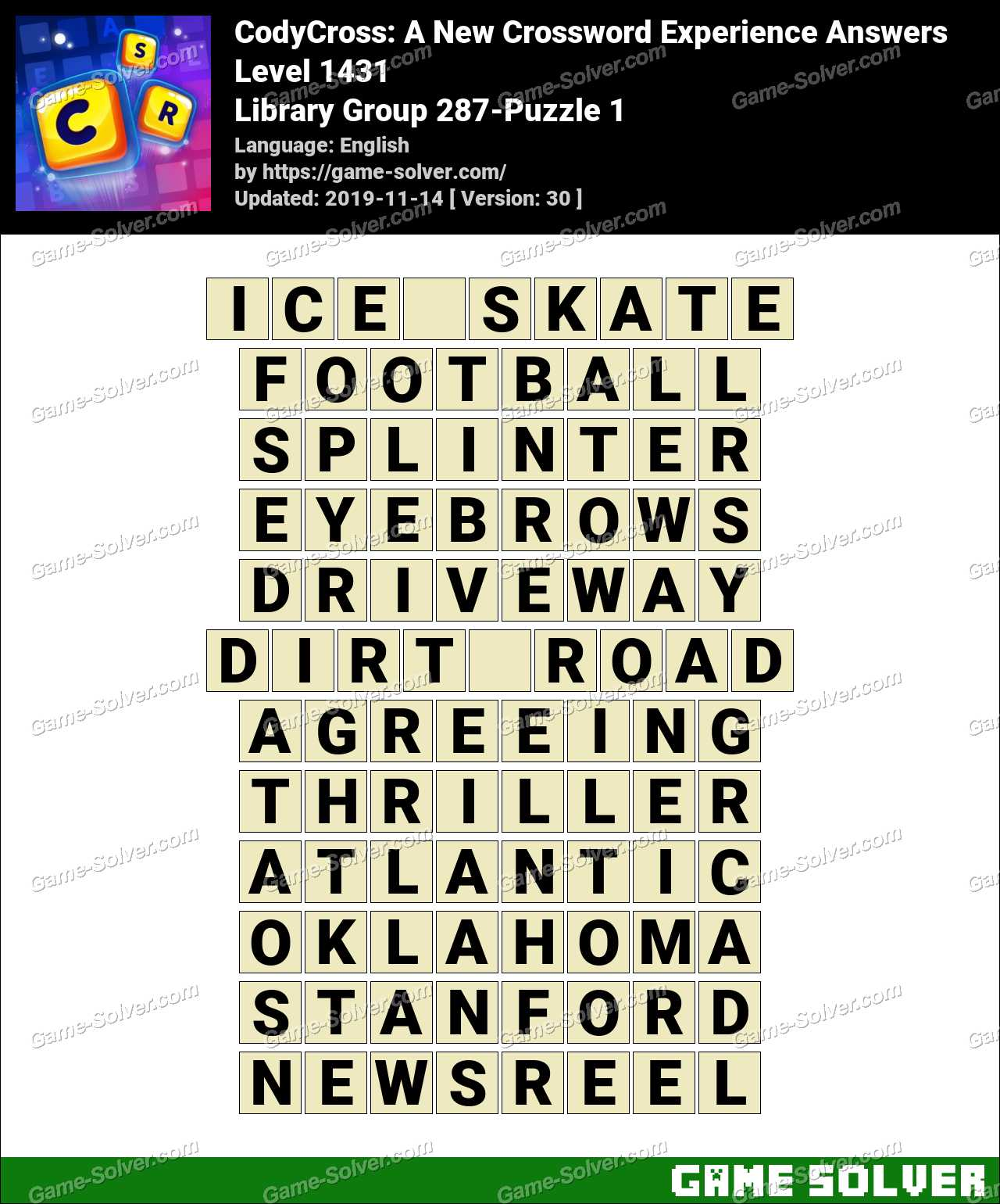 CodyCross Library Group 287-Puzzle 1 Answers