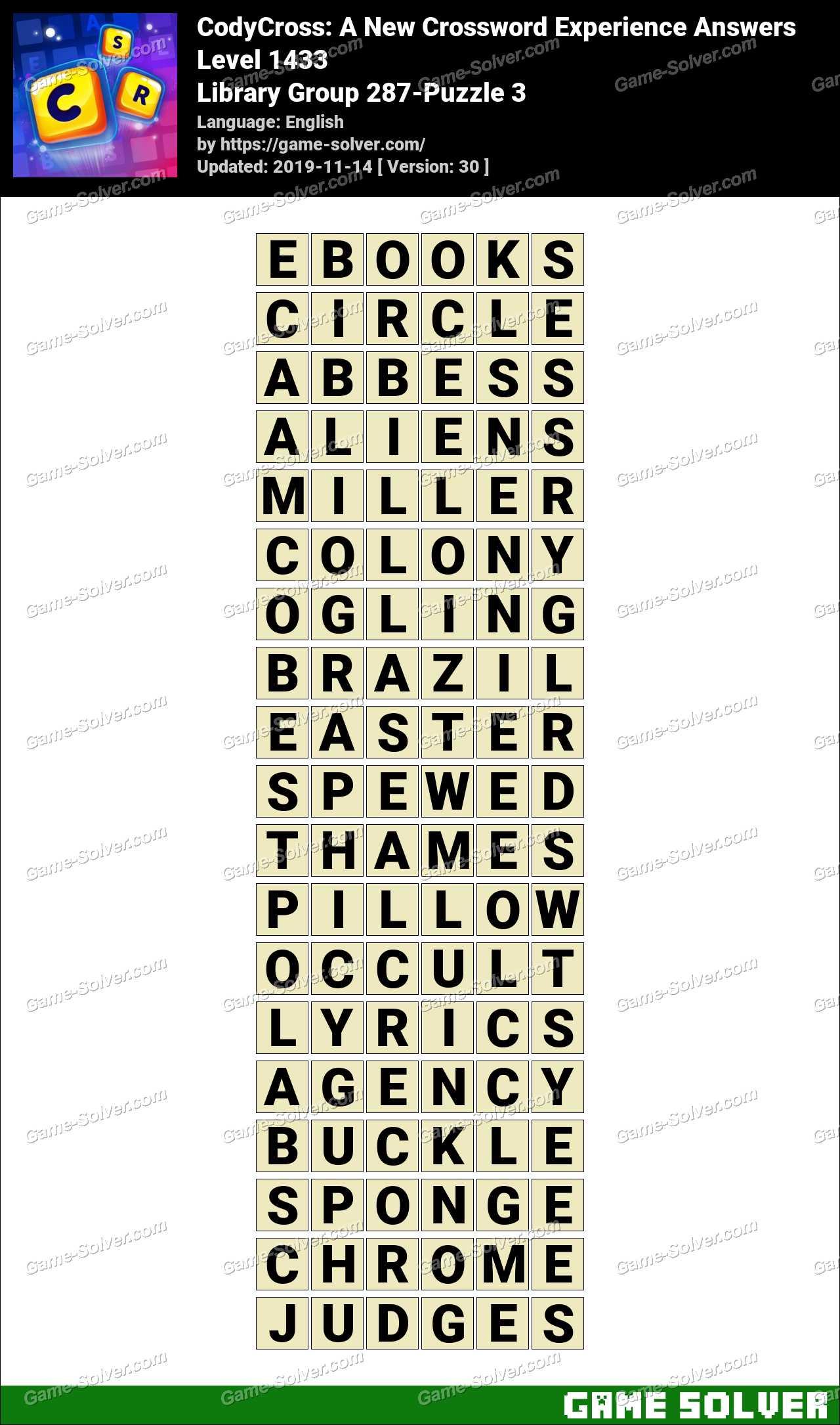 CodyCross Library Group 287-Puzzle 3 Answers