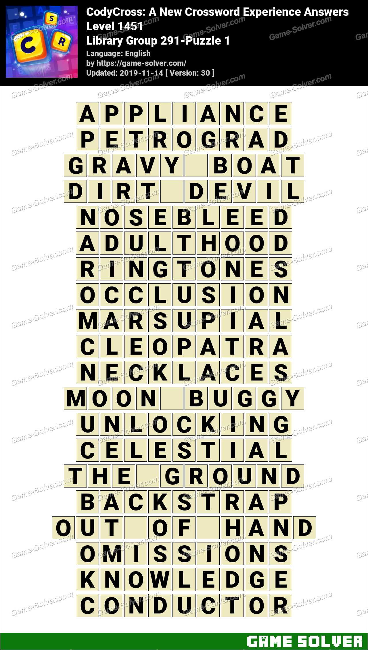 CodyCross Library Group 291-Puzzle 1 Answers
