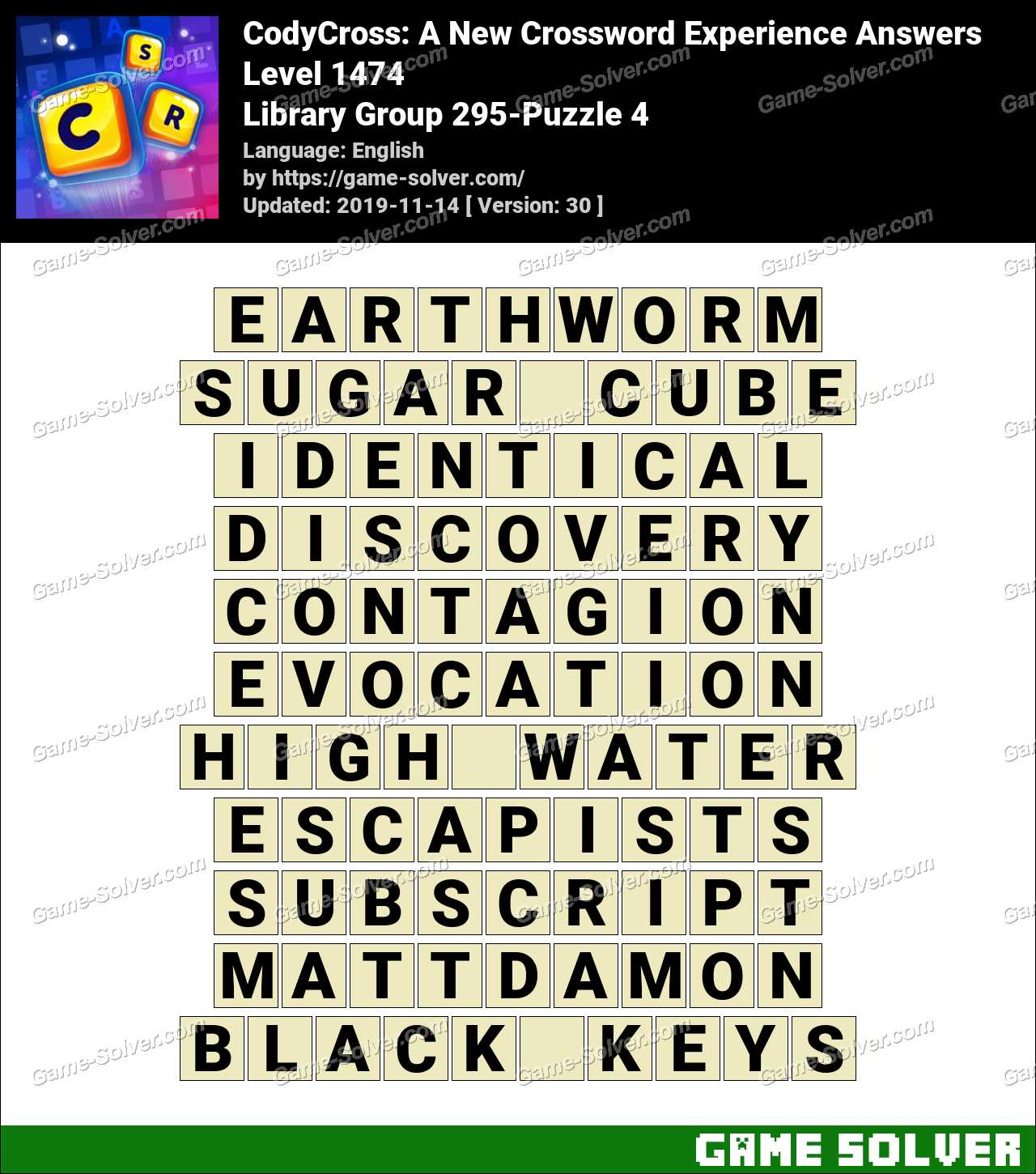 CodyCross Library Group 295-Puzzle 4 Answers