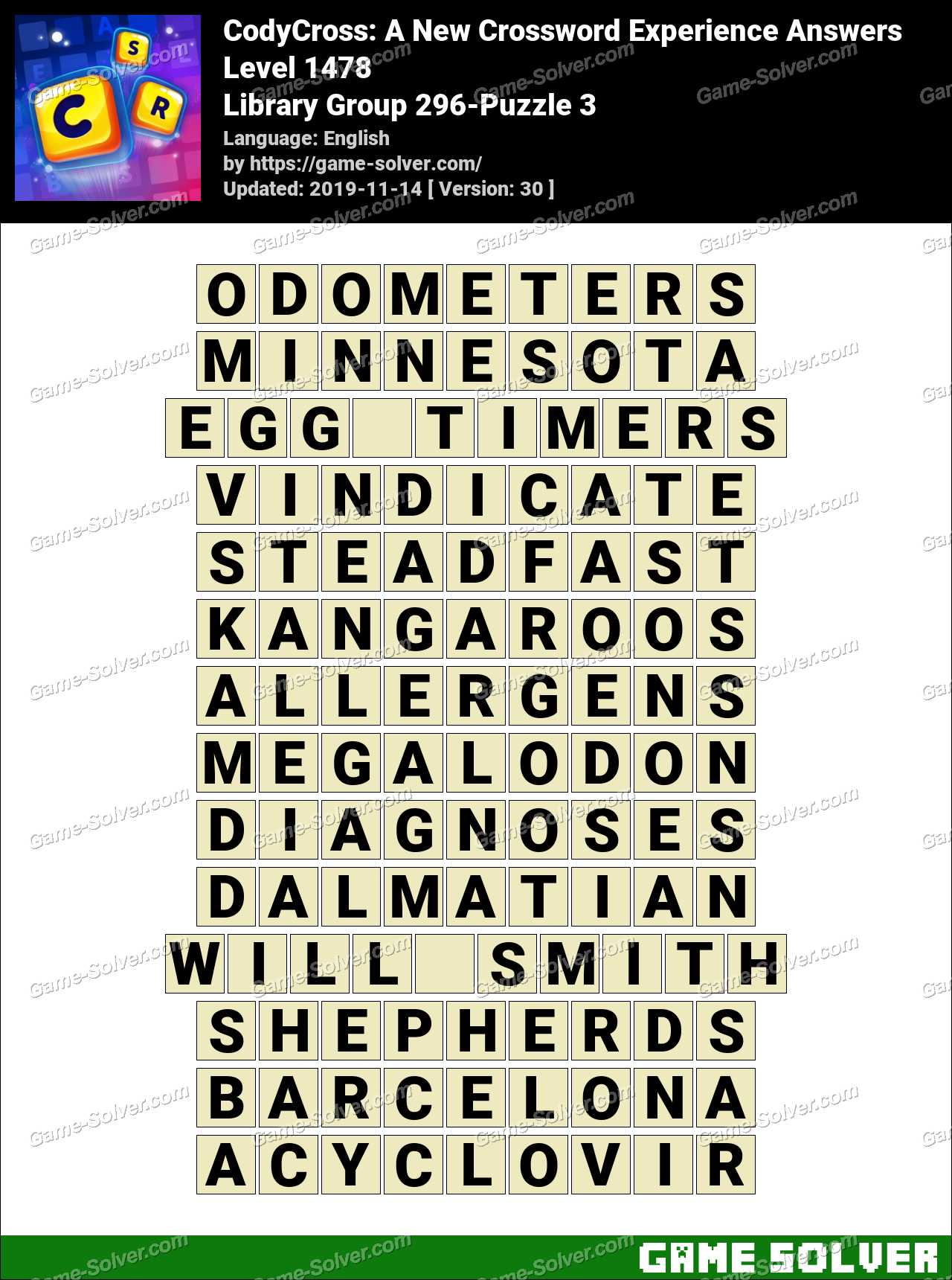 CodyCross Library Group 296-Puzzle 3 Answers