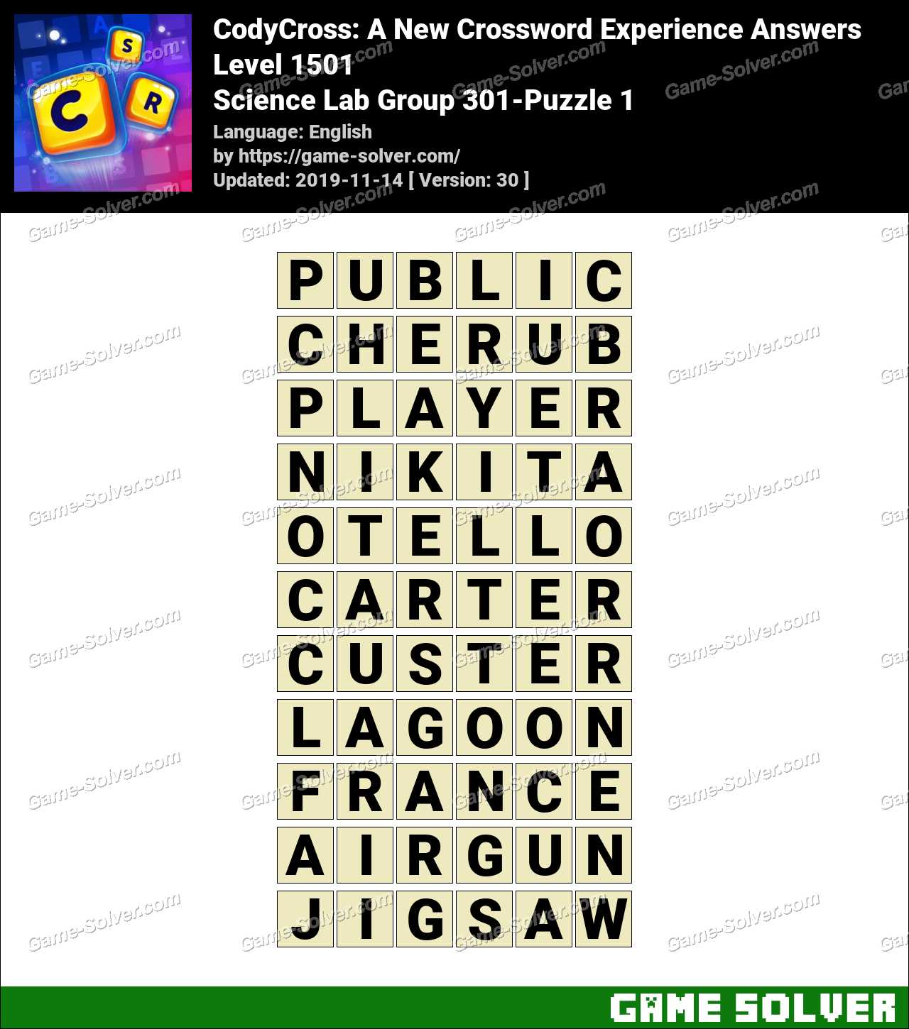 CodyCross Science Lab Group 301-Puzzle 1 Answers
