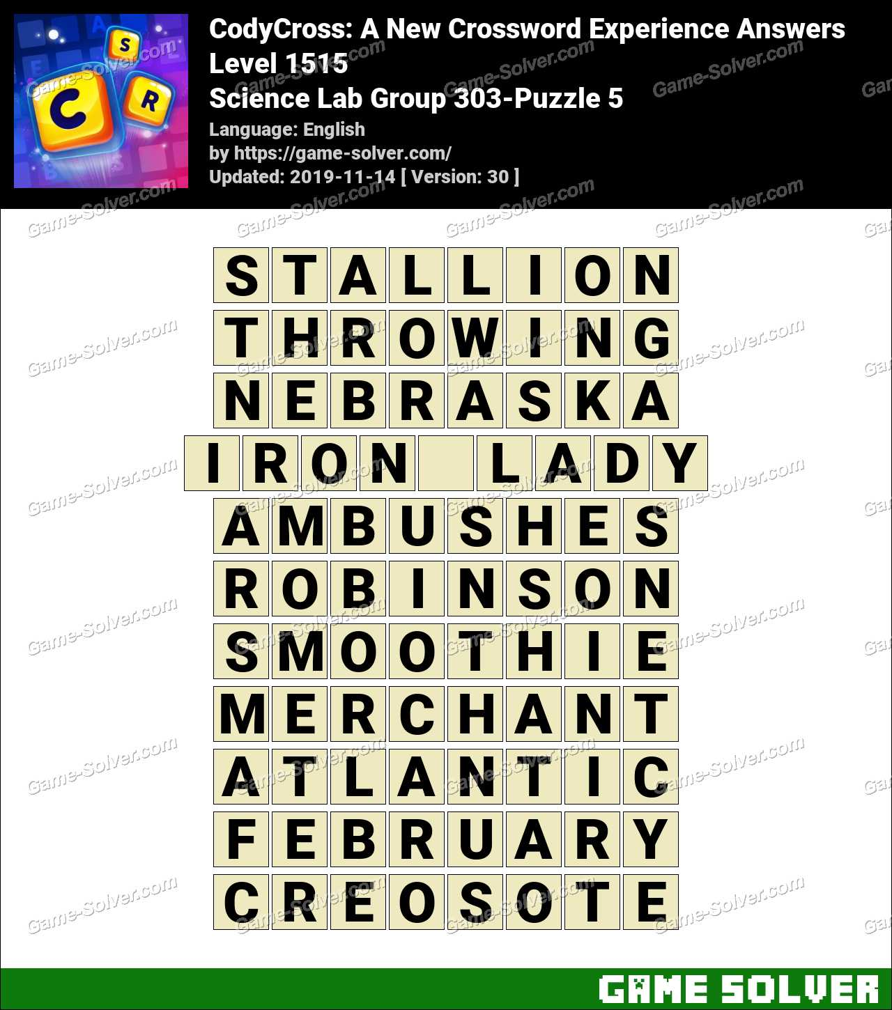 CodyCross Science Lab Group 303-Puzzle 5 Answers