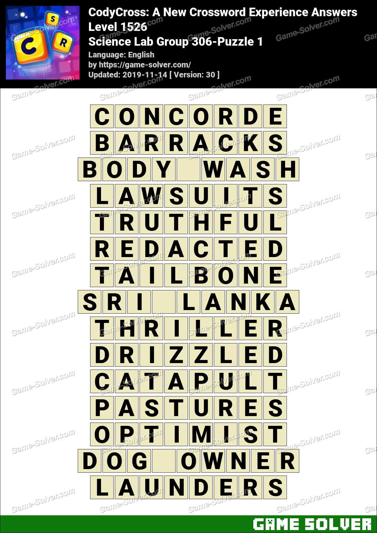 CodyCross Science Lab Group 306-Puzzle 1 Answers