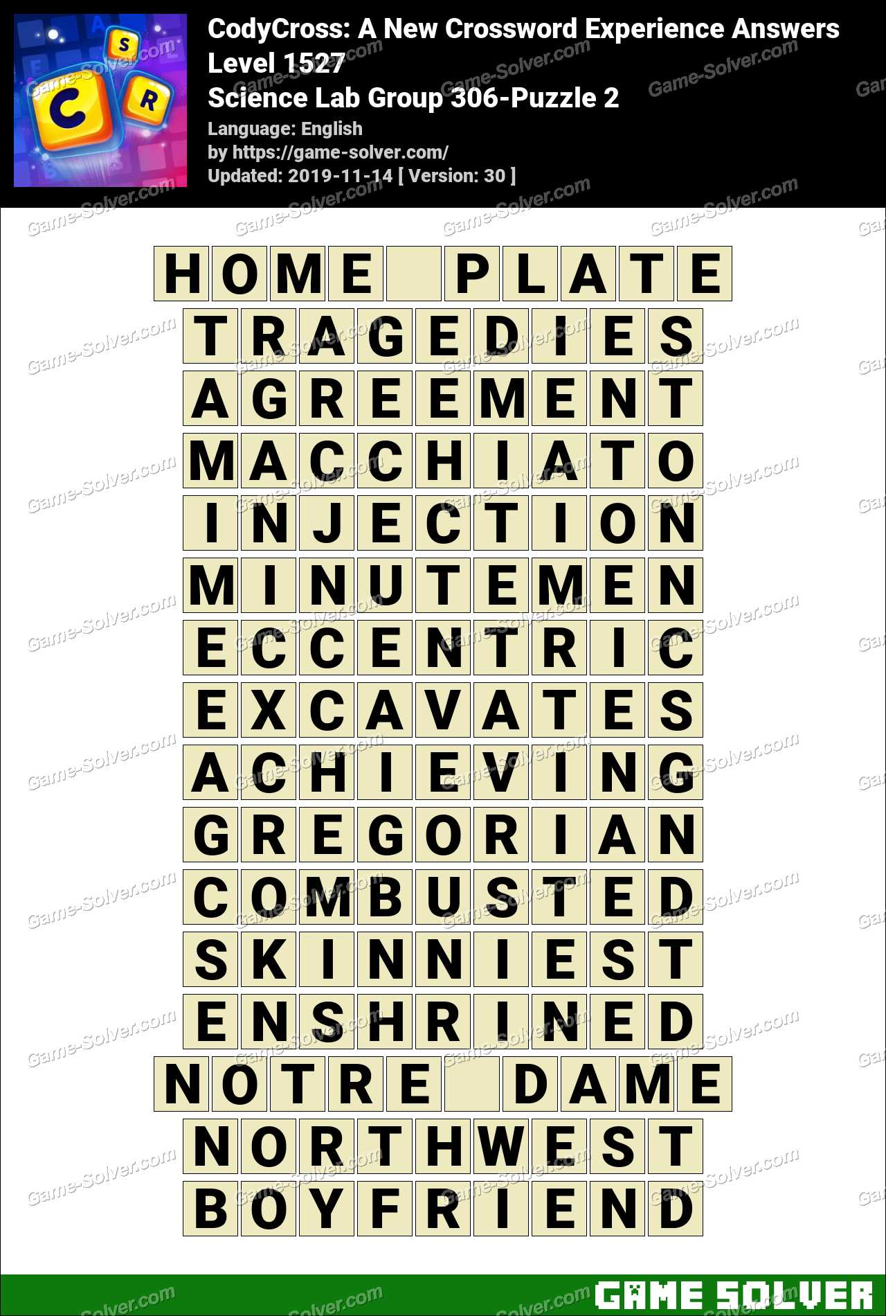 CodyCross Science Lab Group 306-Puzzle 2 Answers