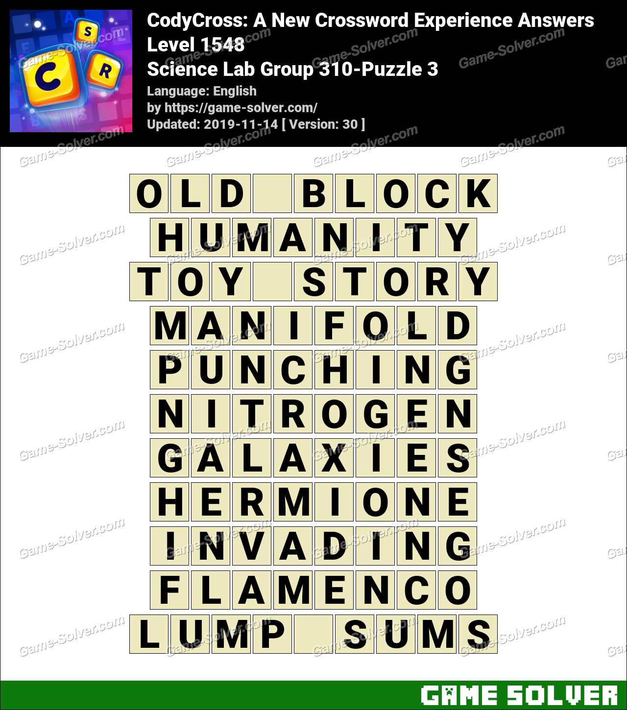 CodyCross Science Lab Group 310-Puzzle 3 Answers