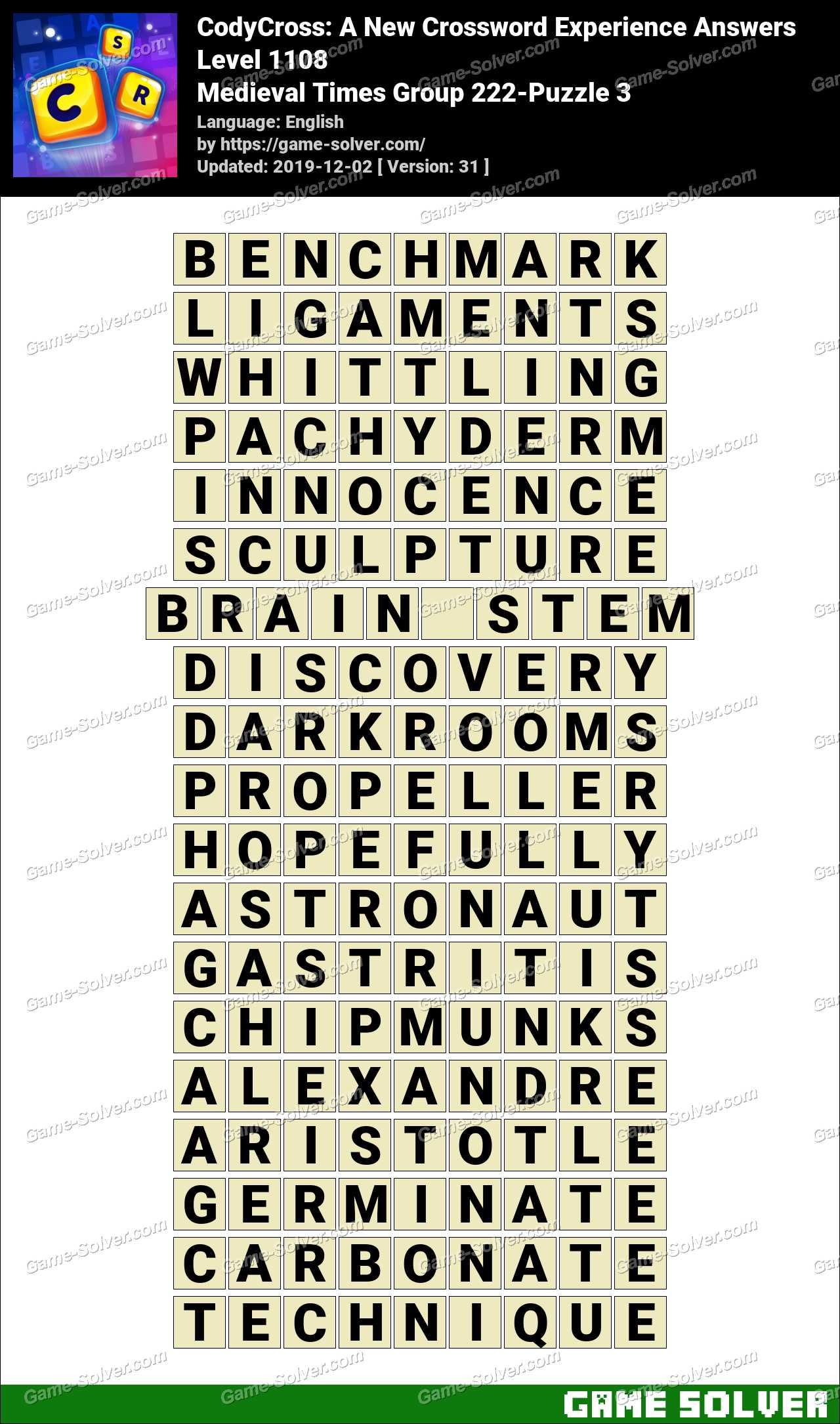 CodyCross Medieval Times Group 222-Puzzle 3 Answers