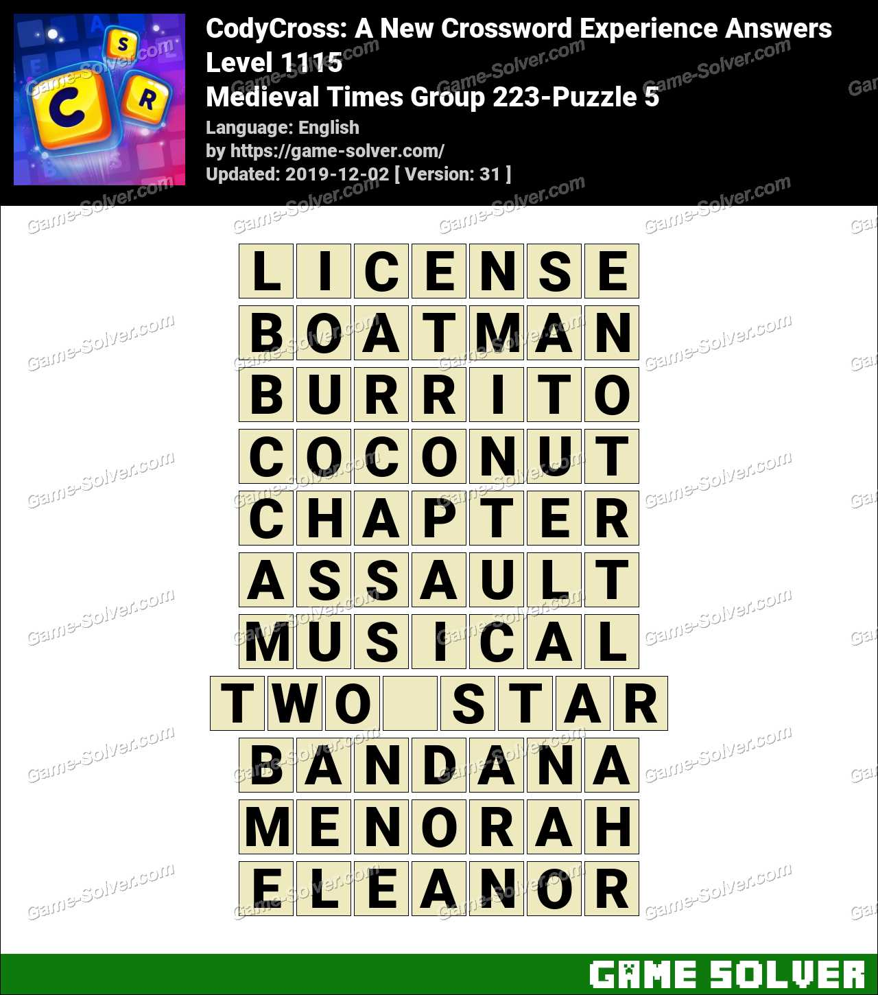 CodyCross Medieval Times Group 223-Puzzle 5 Answers