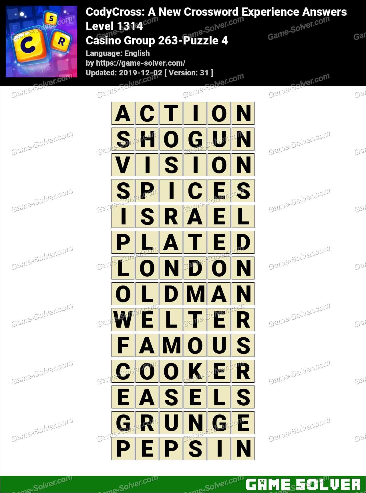 CodyCross Casino Group 263-Puzzle 4 Answers