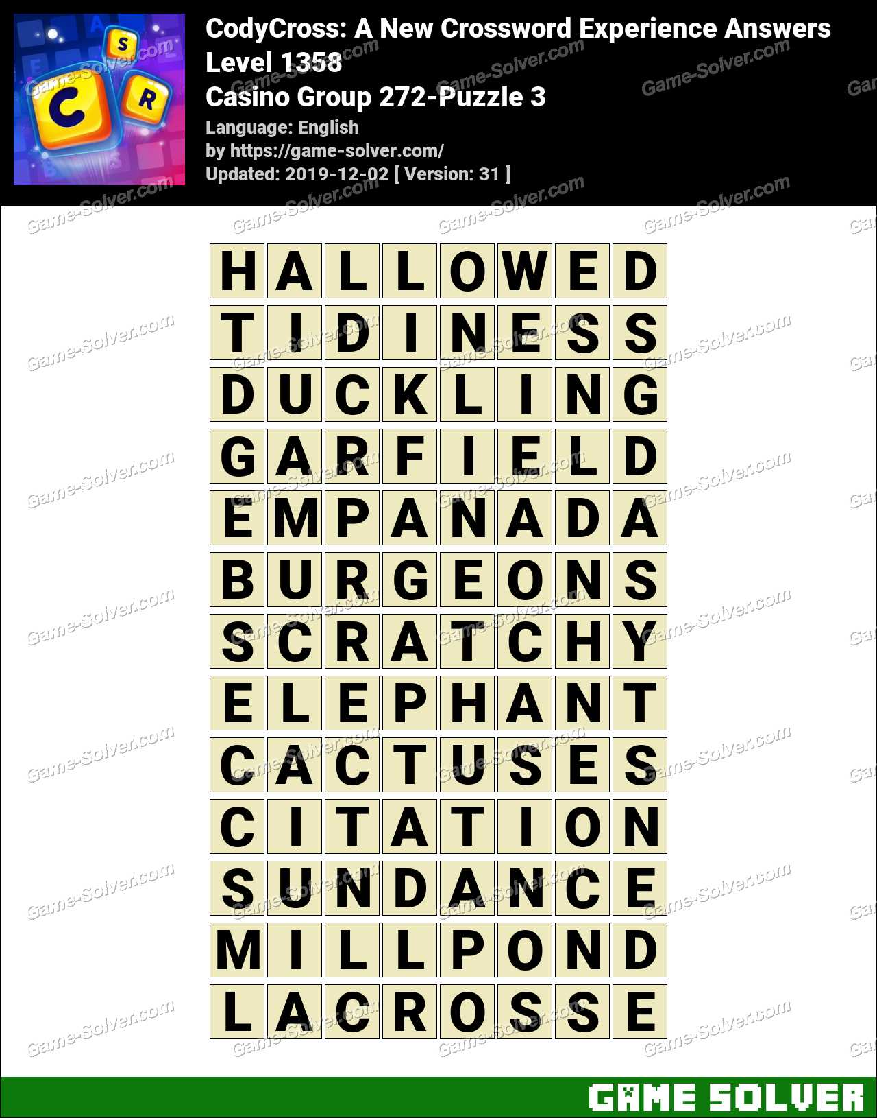 CodyCross Casino Group 272-Puzzle 3 Answers