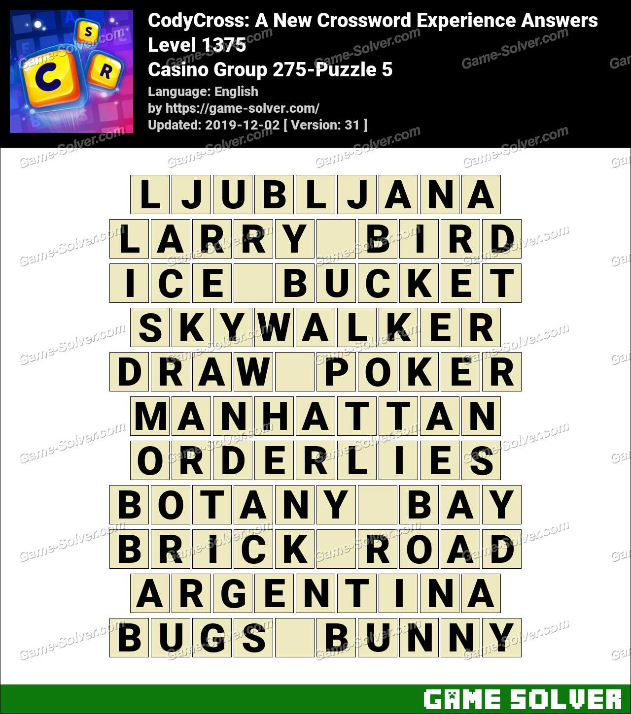 CodyCross Casino Group 275-Puzzle 5 Answers