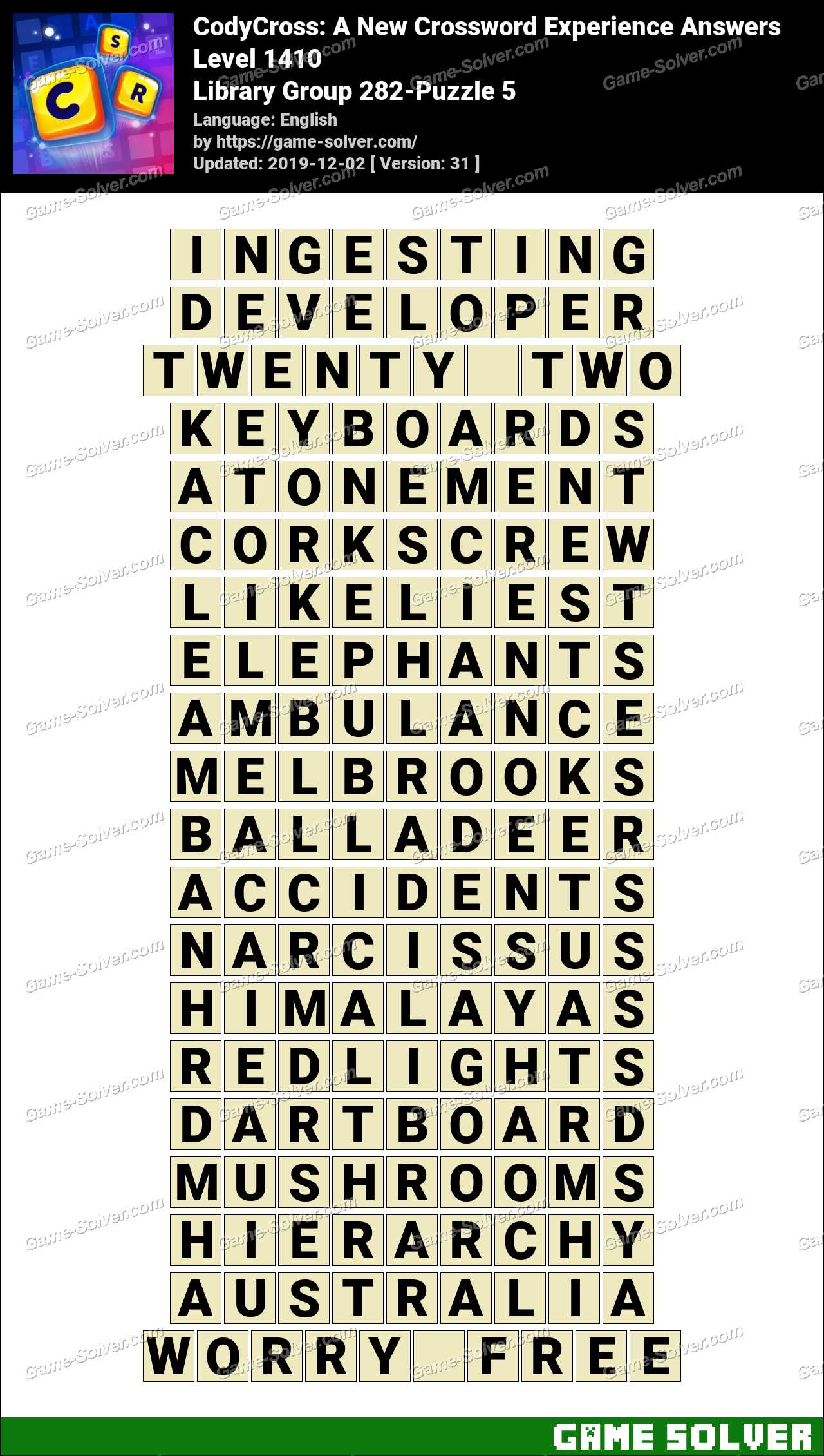 CodyCross Library Group 282-Puzzle 5 Answers