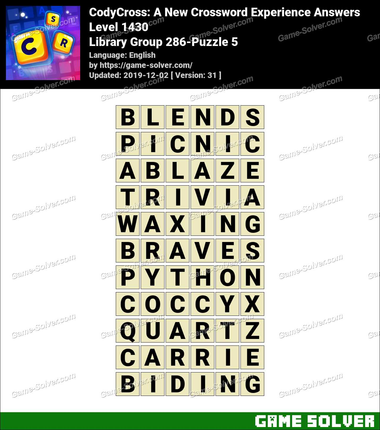 CodyCross Library Group 286-Puzzle 5 Answers