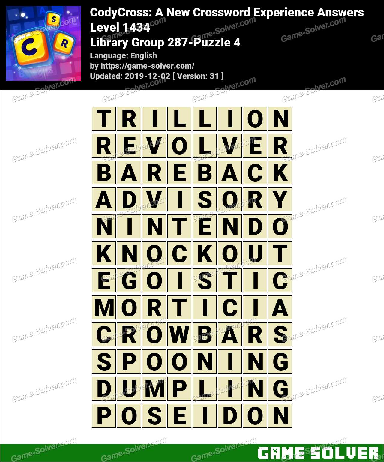 CodyCross Library Group 287-Puzzle 4 Answers