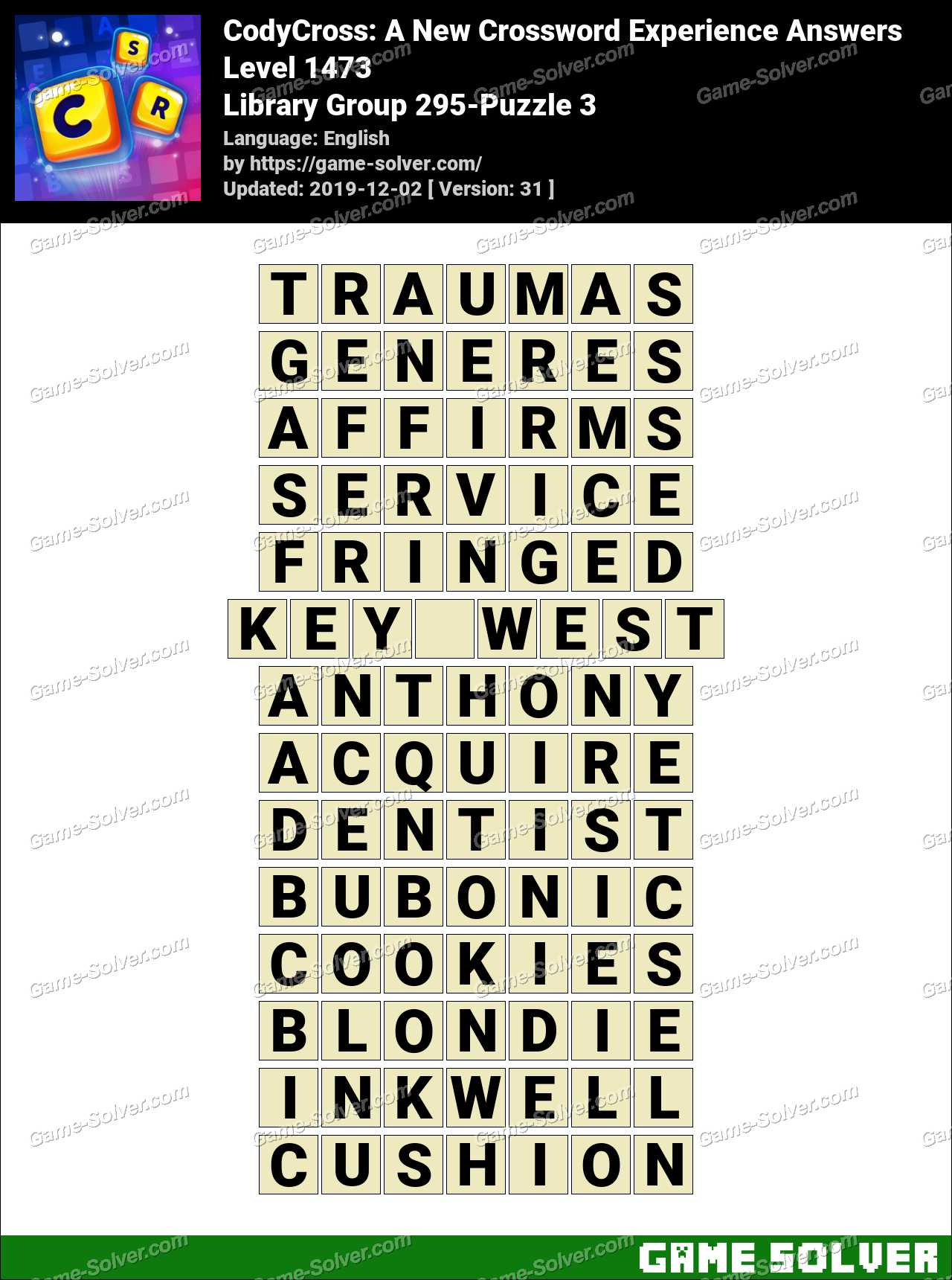 CodyCross Library Group 295-Puzzle 3 Answers