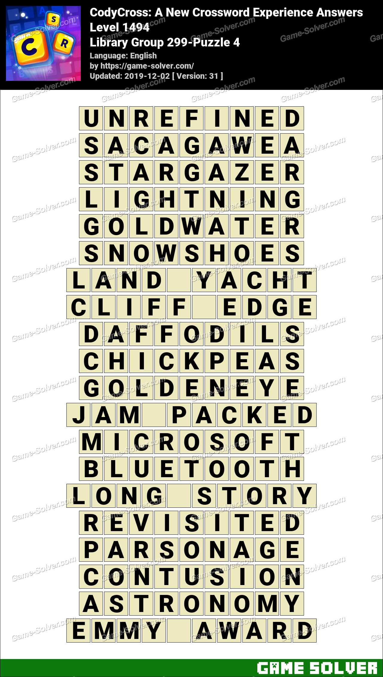 CodyCross Library Group 299-Puzzle 4 Answers