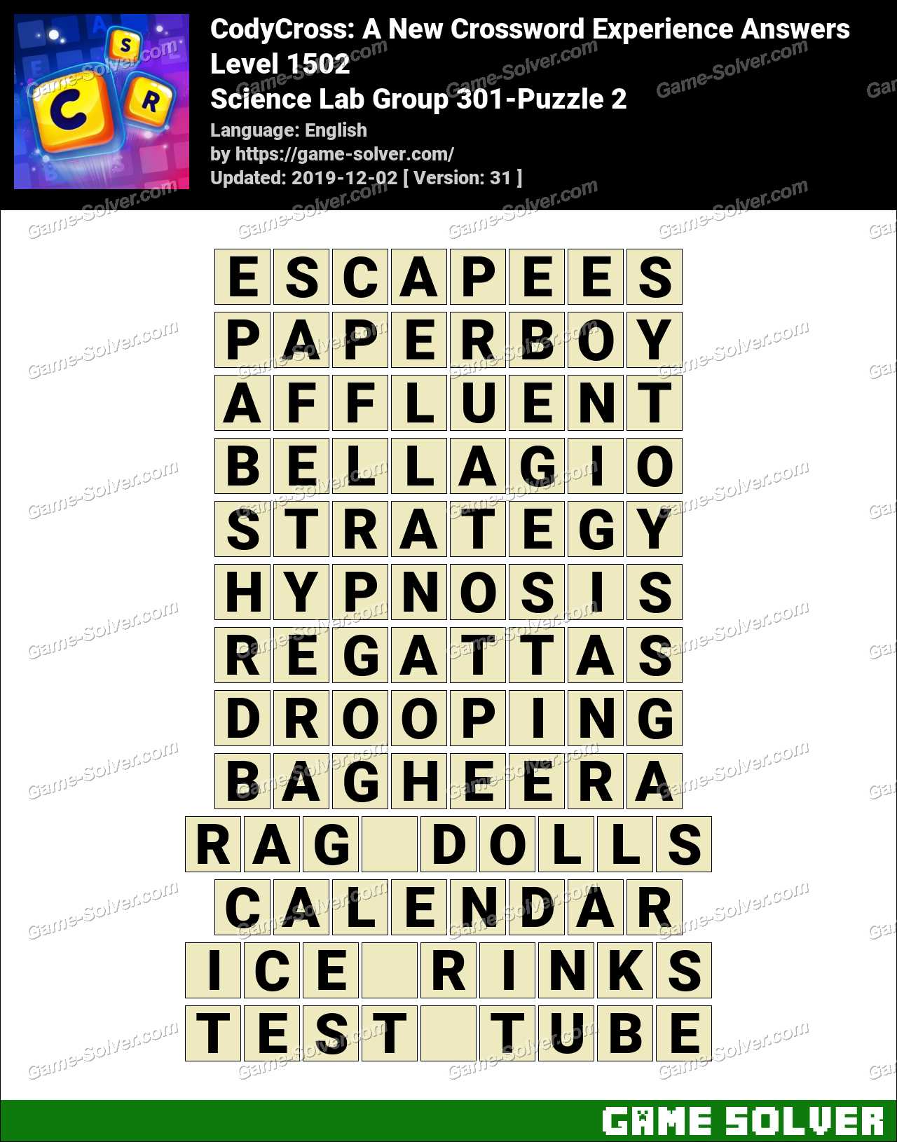 CodyCross Science Lab Group 301-Puzzle 2 Answers
