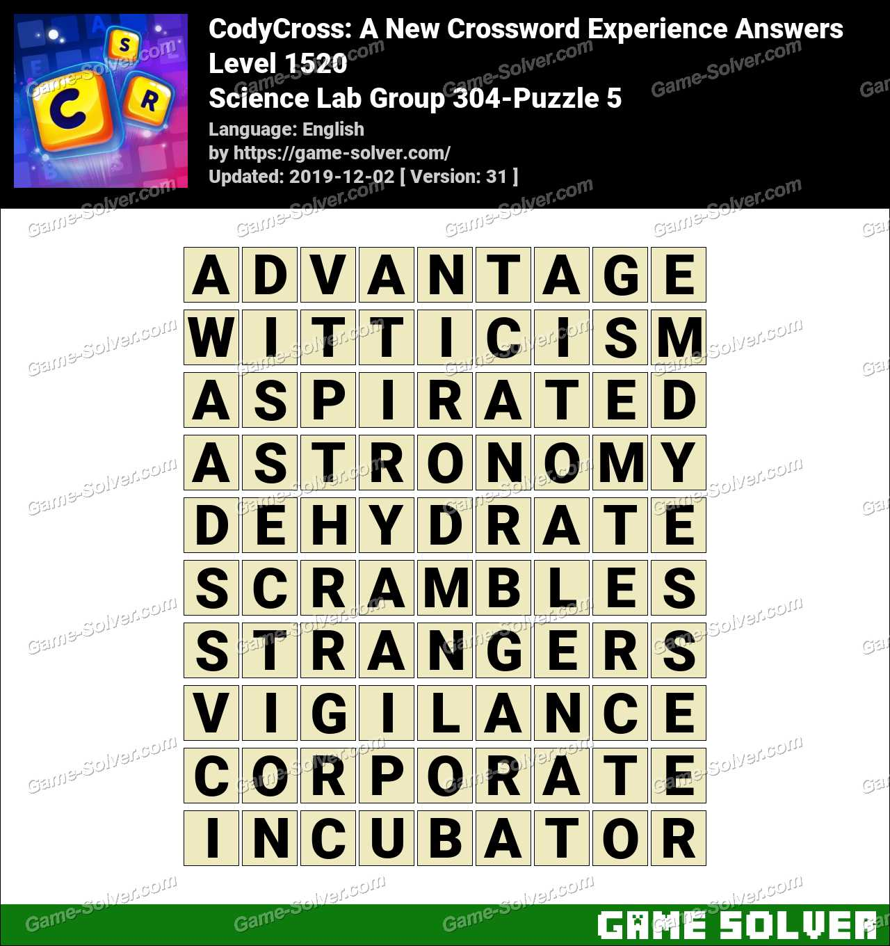 CodyCross Science Lab Group 304-Puzzle 5 Answers