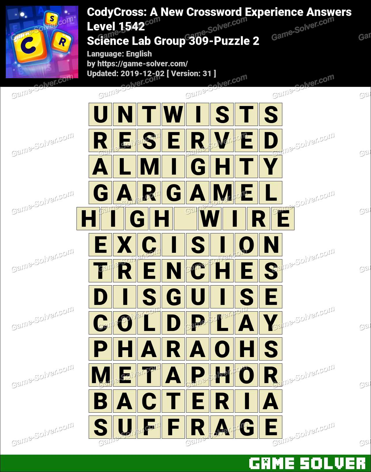CodyCross Science Lab Group 309-Puzzle 2 Answers