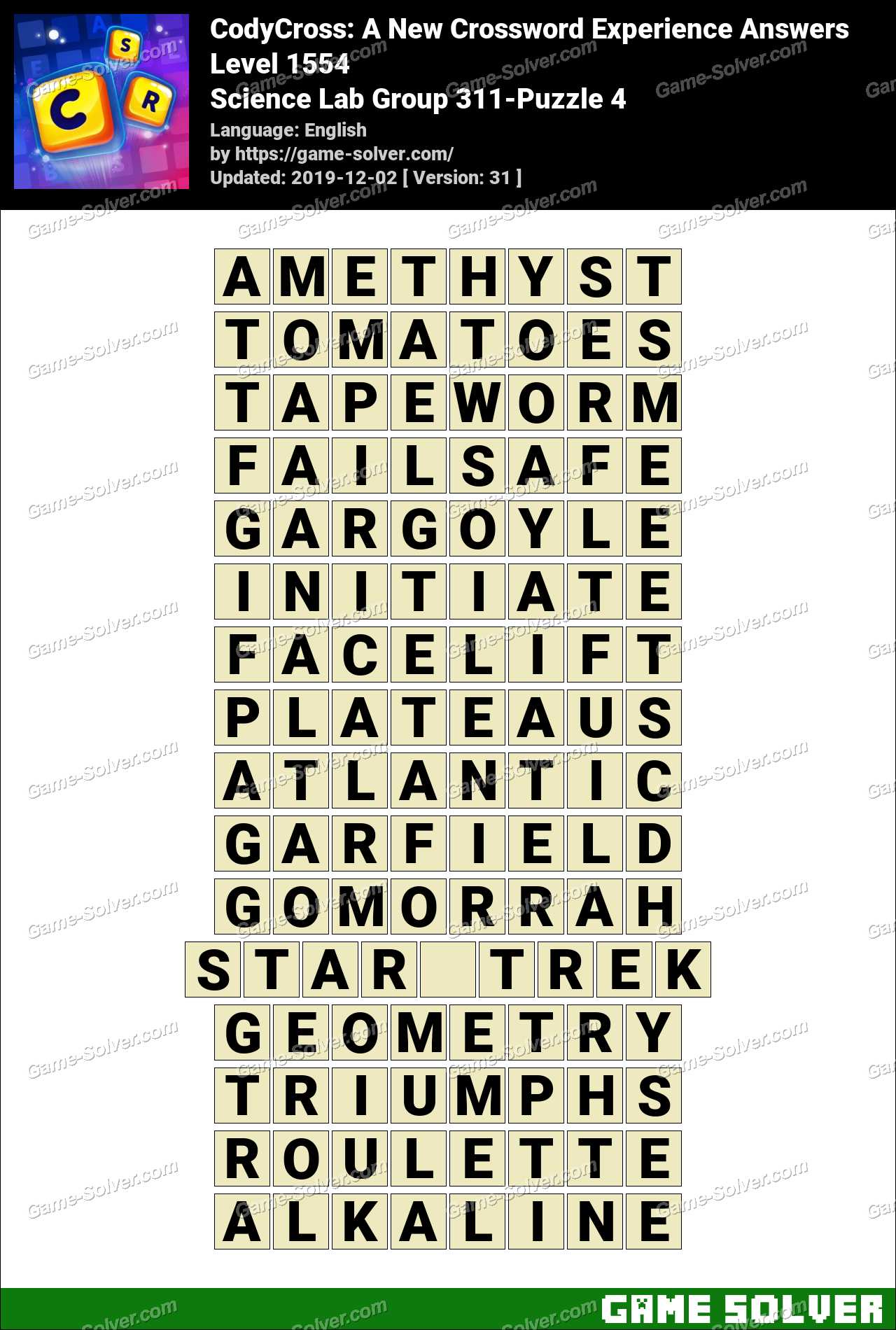 CodyCross Science Lab Group 311-Puzzle 4 Answers