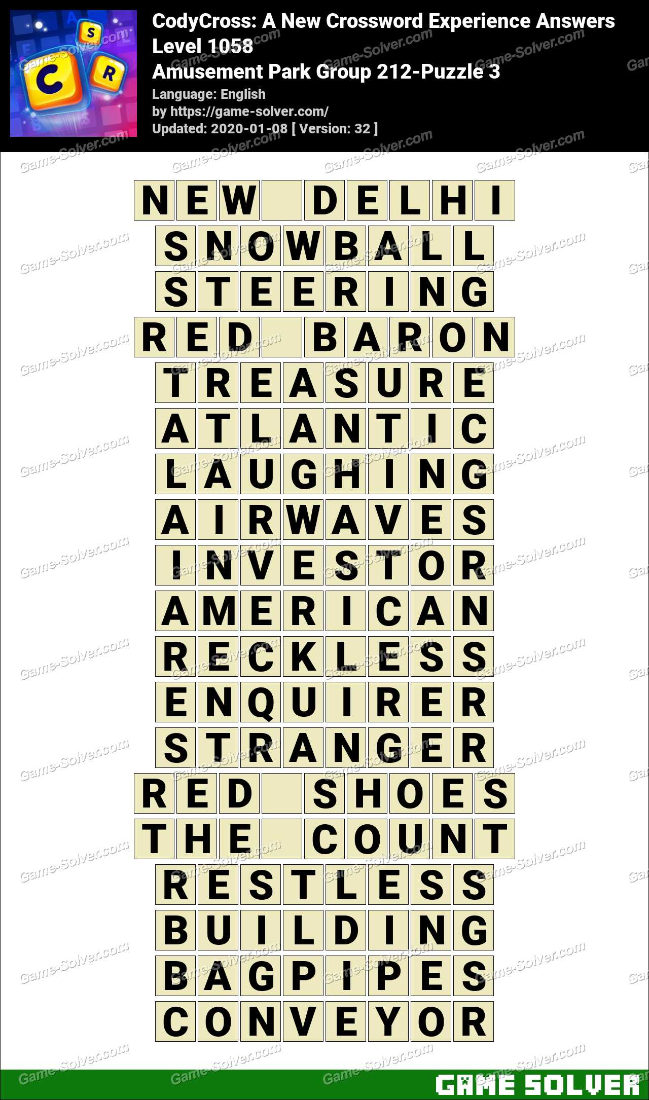 CodyCross Amusement Park Group 212-Puzzle 3 Answers