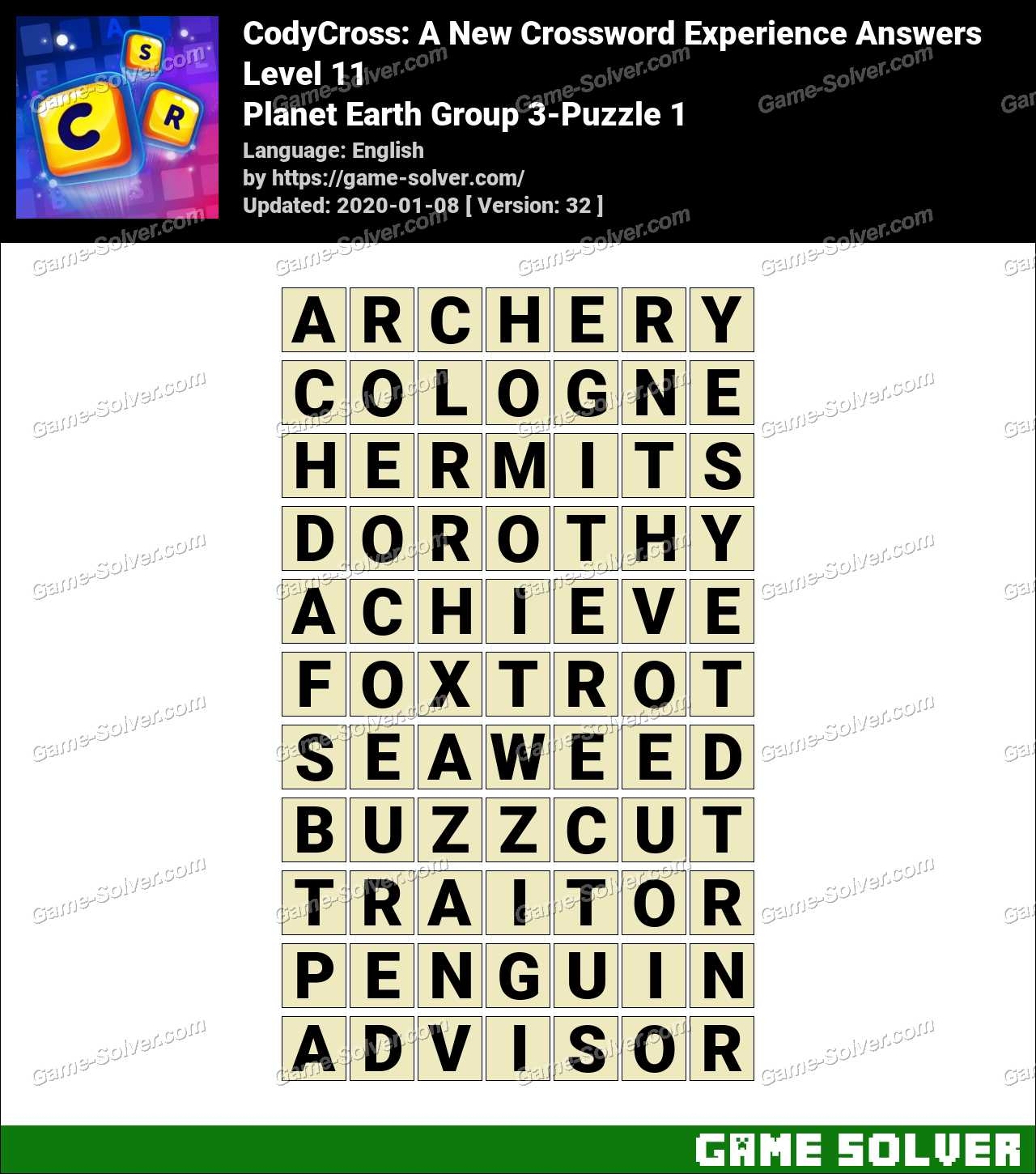 CodyCross Planet Earth Group 3-Puzzle 1 Answers
