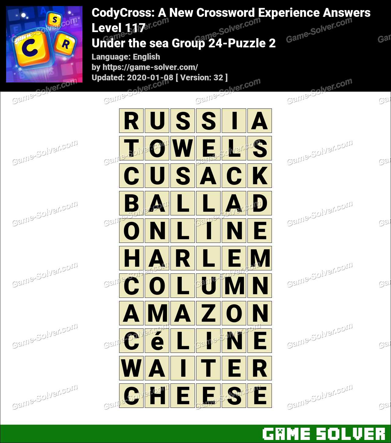 CodyCross Under the sea Group 24-Puzzle 2 Answers