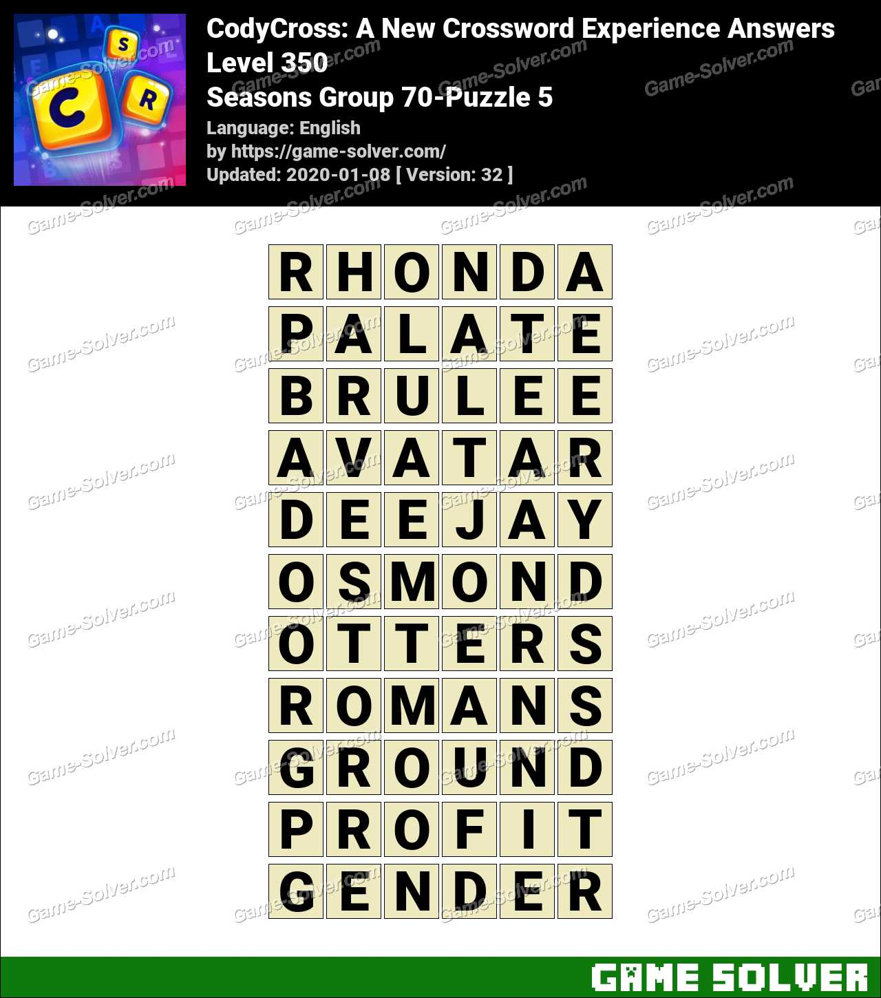 CodyCross Seasons Group 70-Puzzle 5 Answers