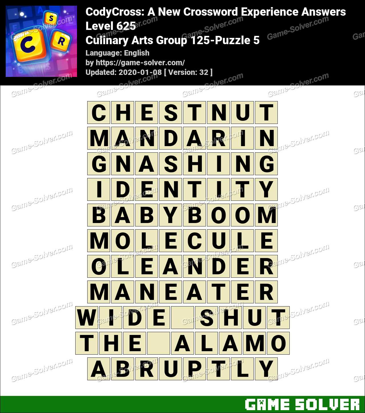 CodyCross Culinary Arts Group 125-Puzzle 5 Answers