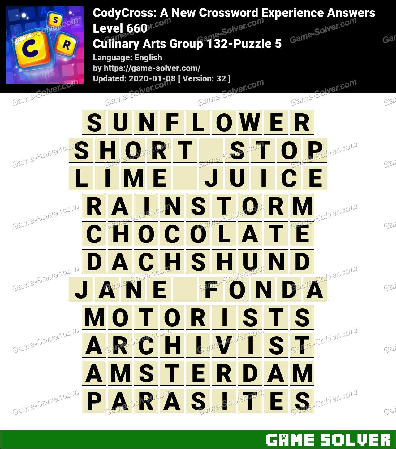 CodyCross Culinary Arts Group 132-Puzzle 5 Answers