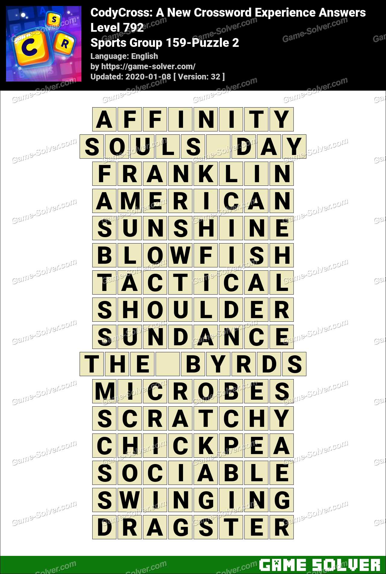CodyCross Sports Group 159-Puzzle 2 Answers