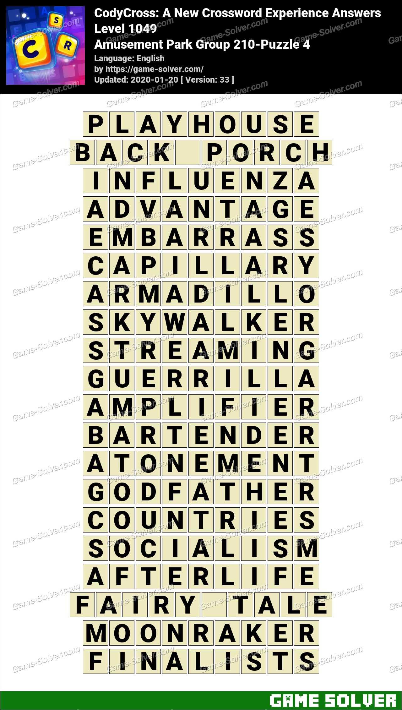 CodyCross Amusement Park Group 210-Puzzle 4 Answers