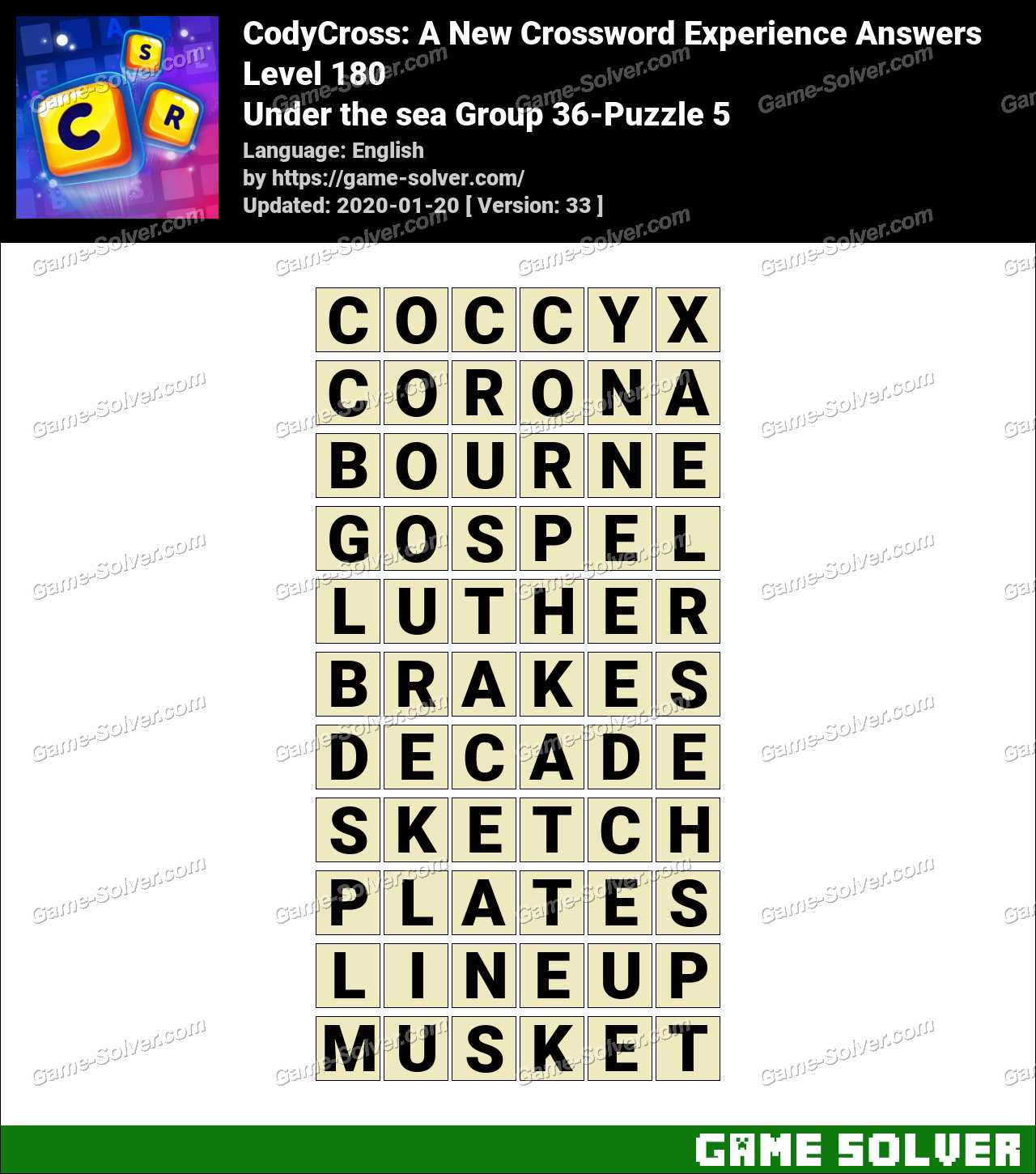 CodyCross Under the sea Group 36-Puzzle 5 Answers