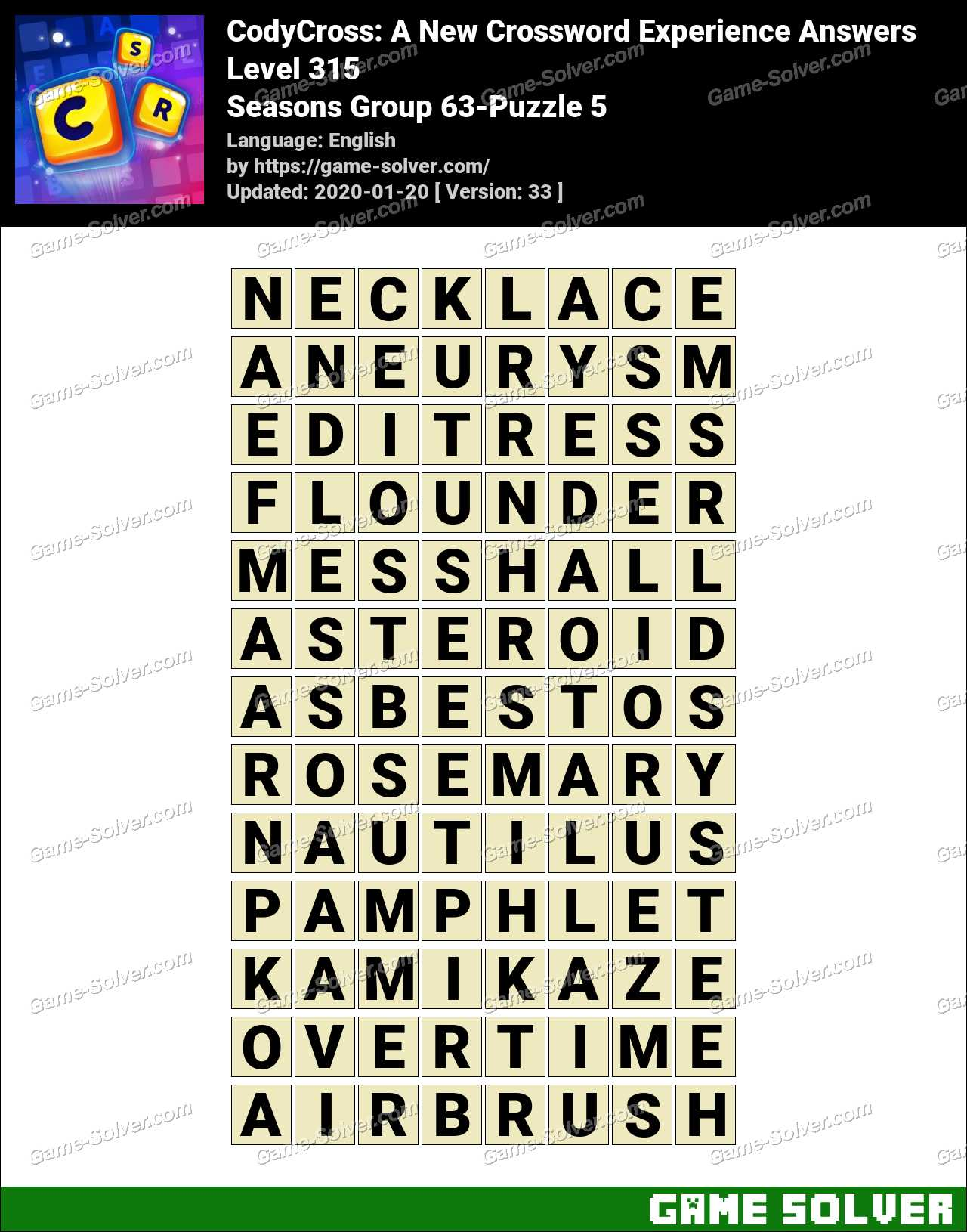CodyCross Seasons Group 63-Puzzle 5 Answers