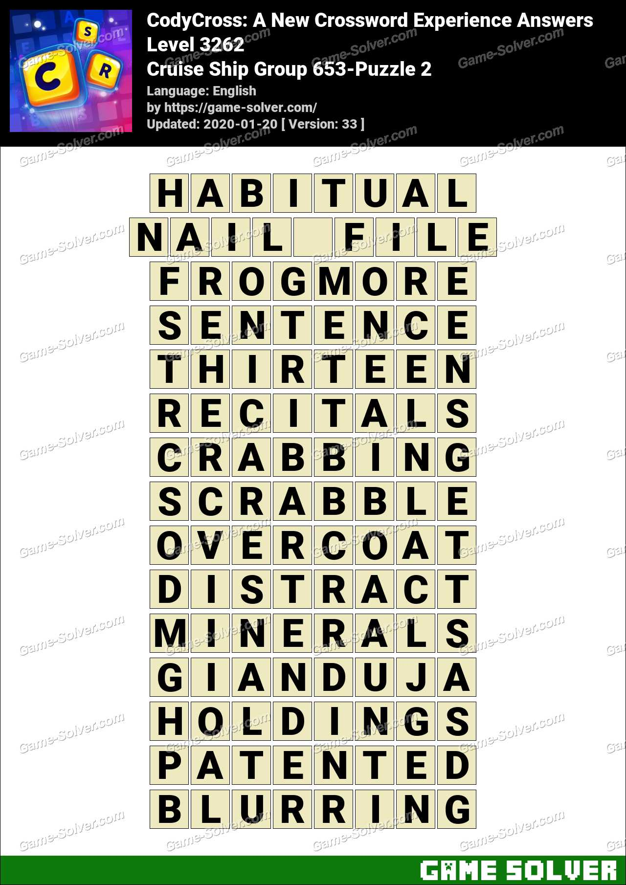 CodyCross Cruise Ship Group 653-Puzzle 2 Answers - Game Solver