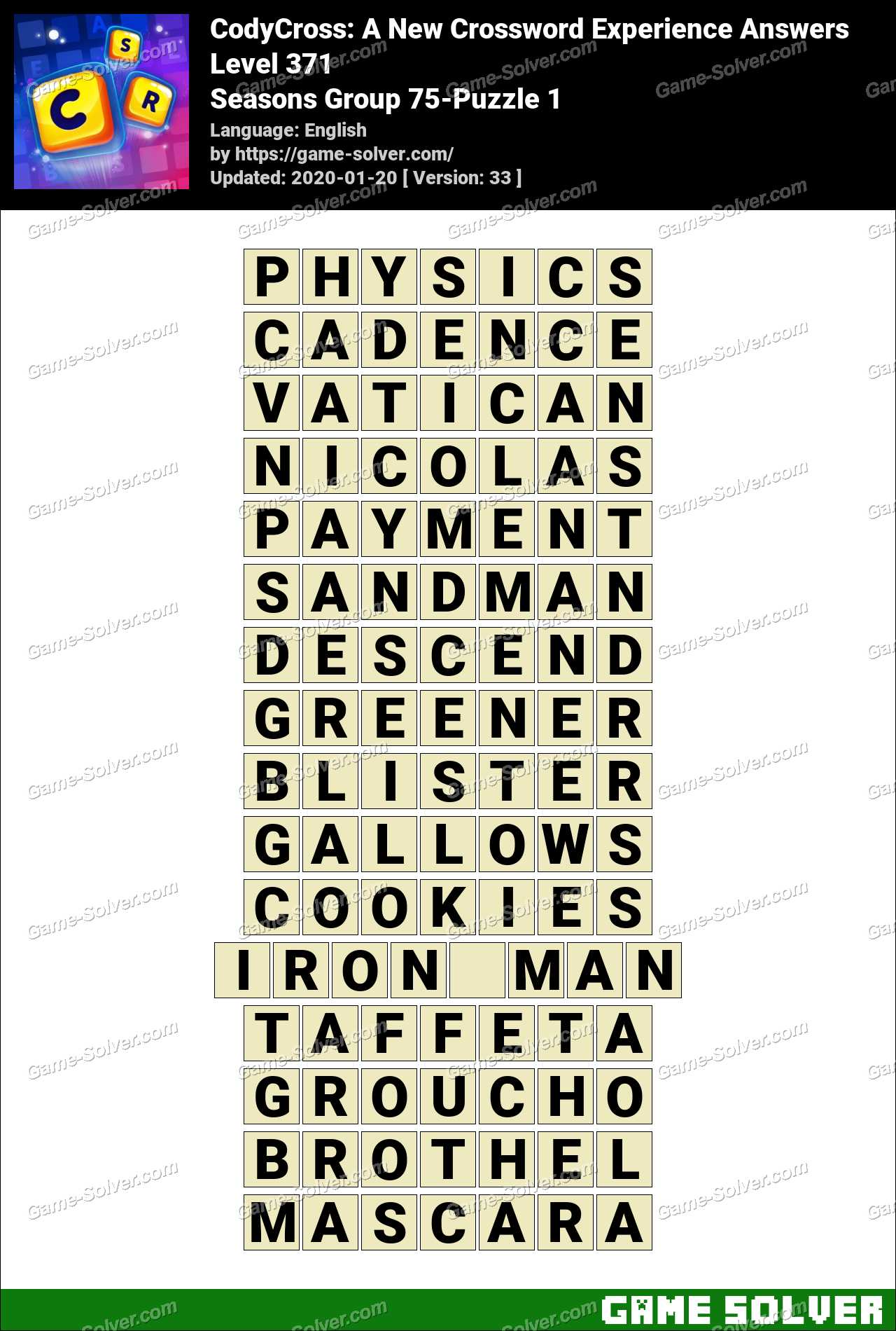 CodyCross Seasons Group 75-Puzzle 1 Answers