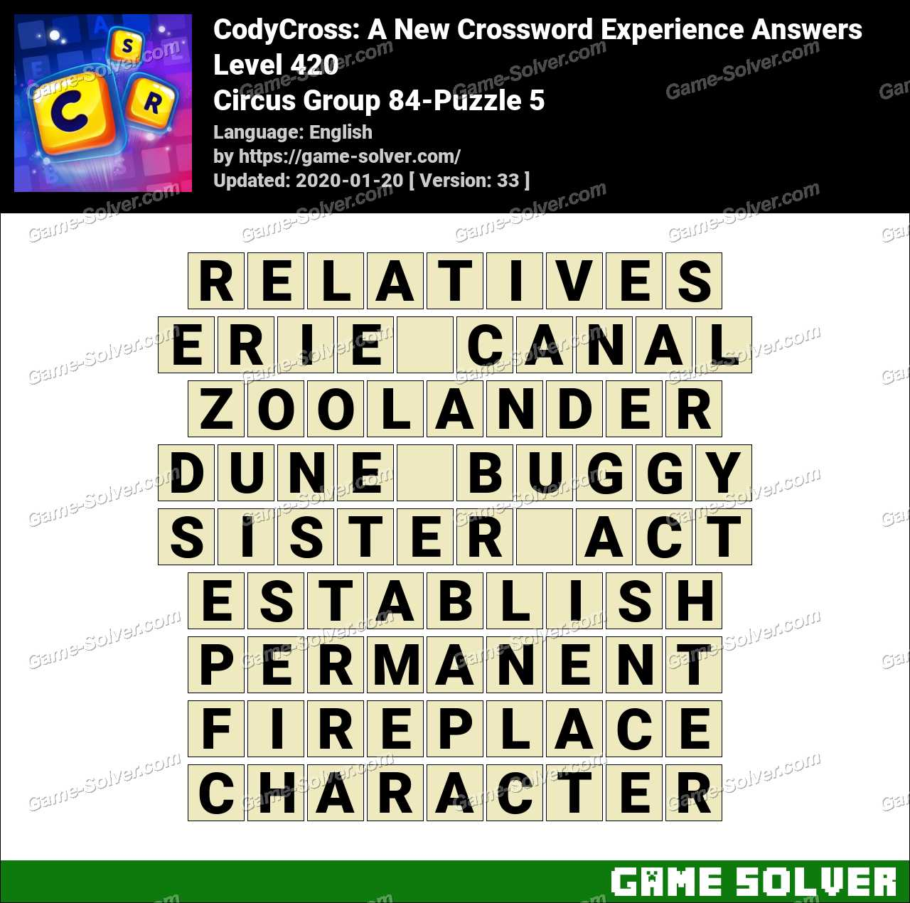 CodyCross Circus Group 84-Puzzle 5 Answers