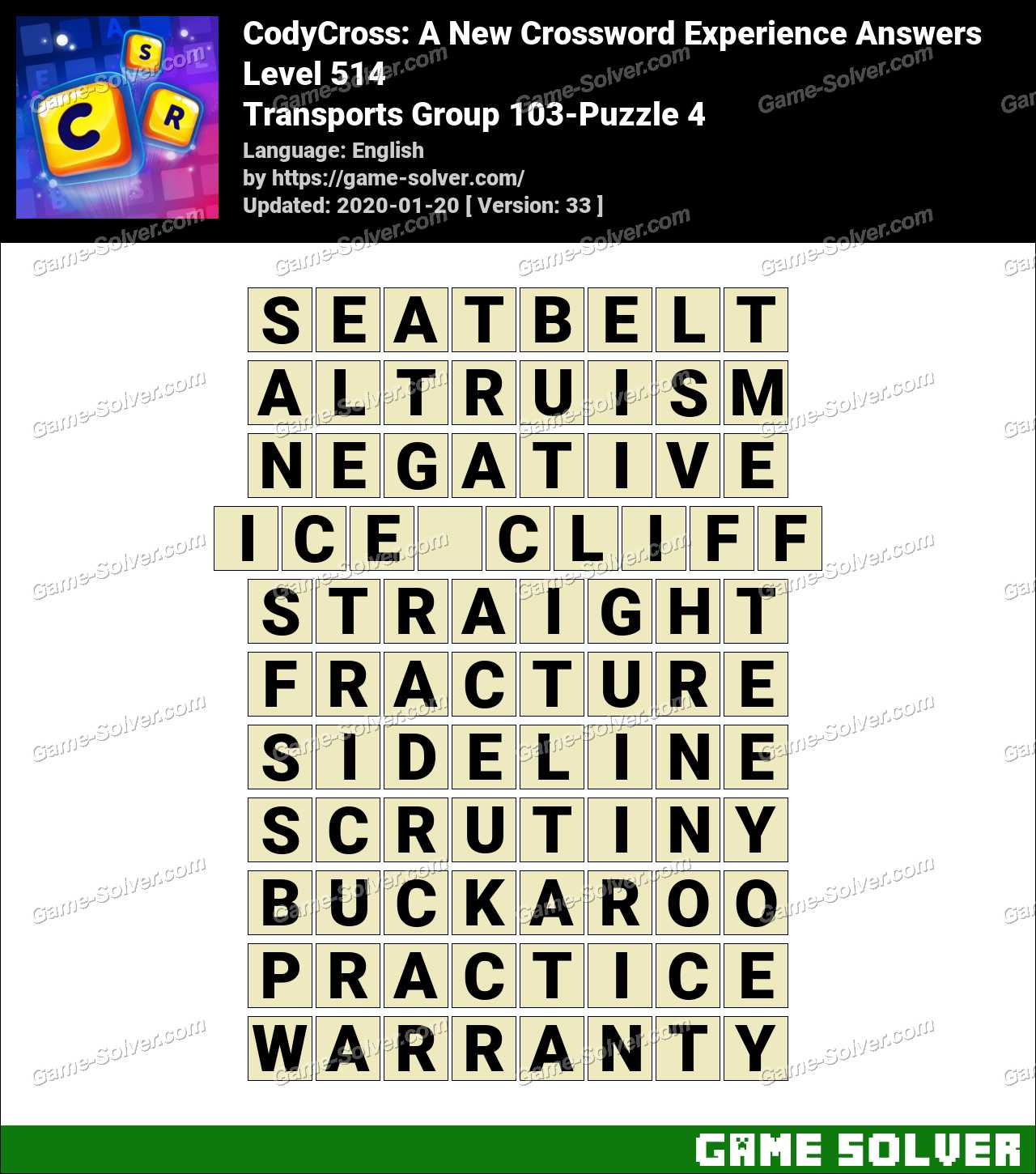 CodyCross Transports Group 103-Puzzle 4 Answers