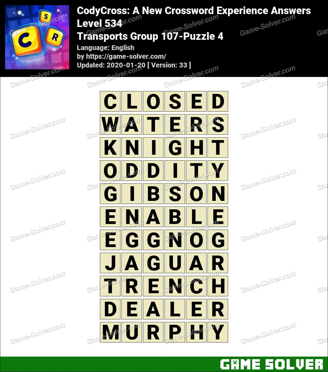CodyCross Transports Group 107-Puzzle 4 Answers