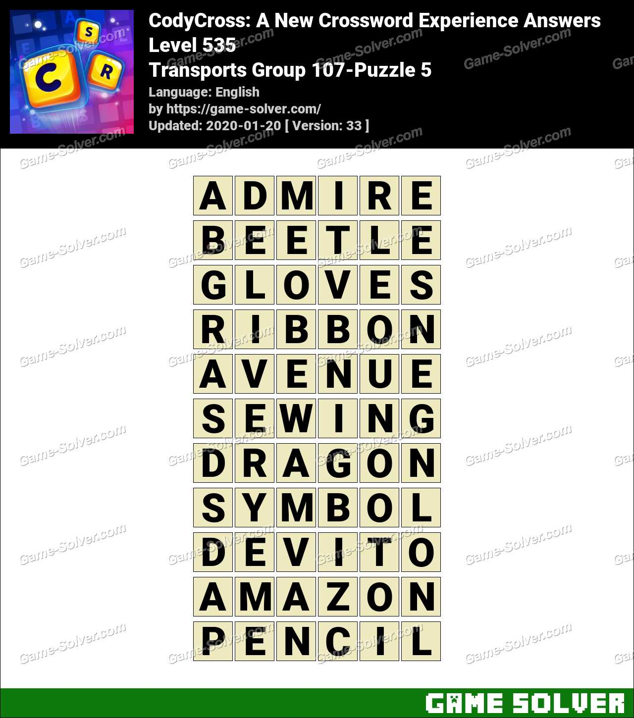 CodyCross Transports Group 107-Puzzle 5 Answers
