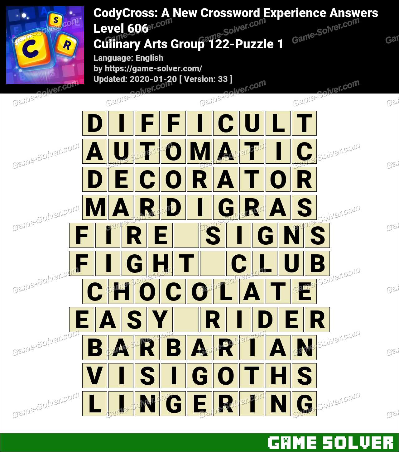 CodyCross Culinary Arts Group 122-Puzzle 1 Answers