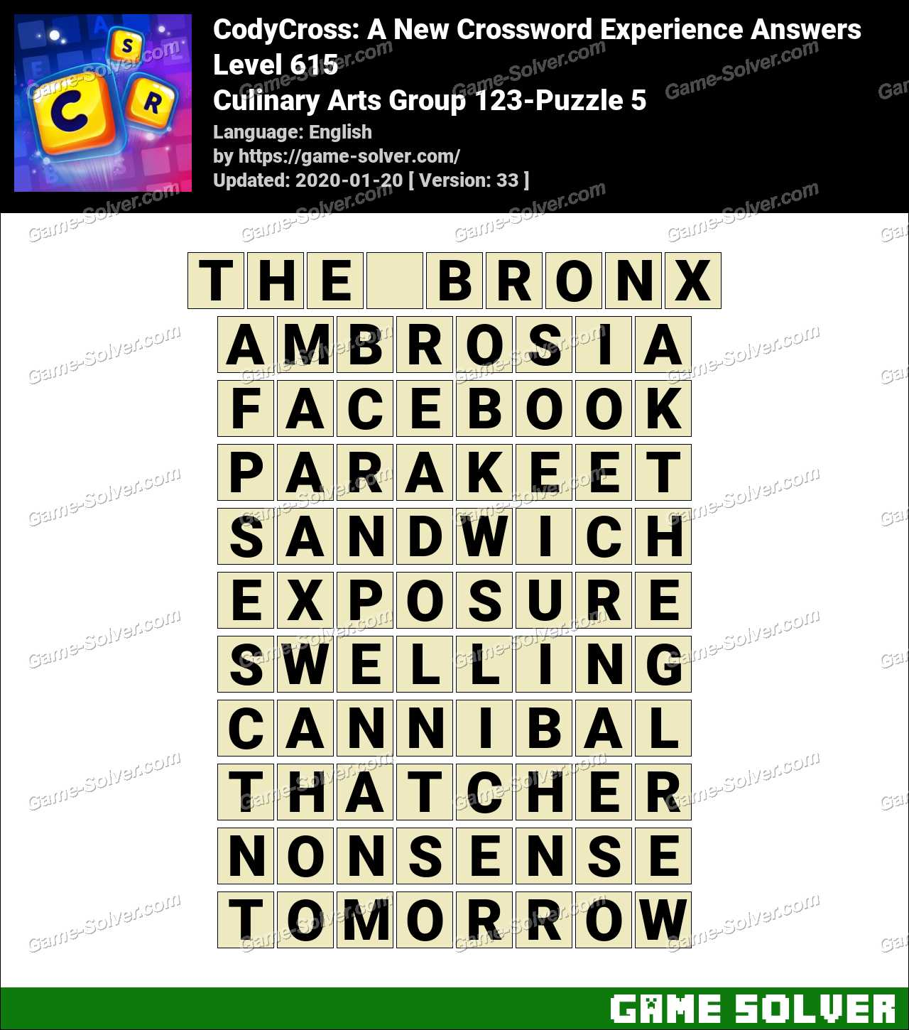 CodyCross Culinary Arts Group 123-Puzzle 5 Answers