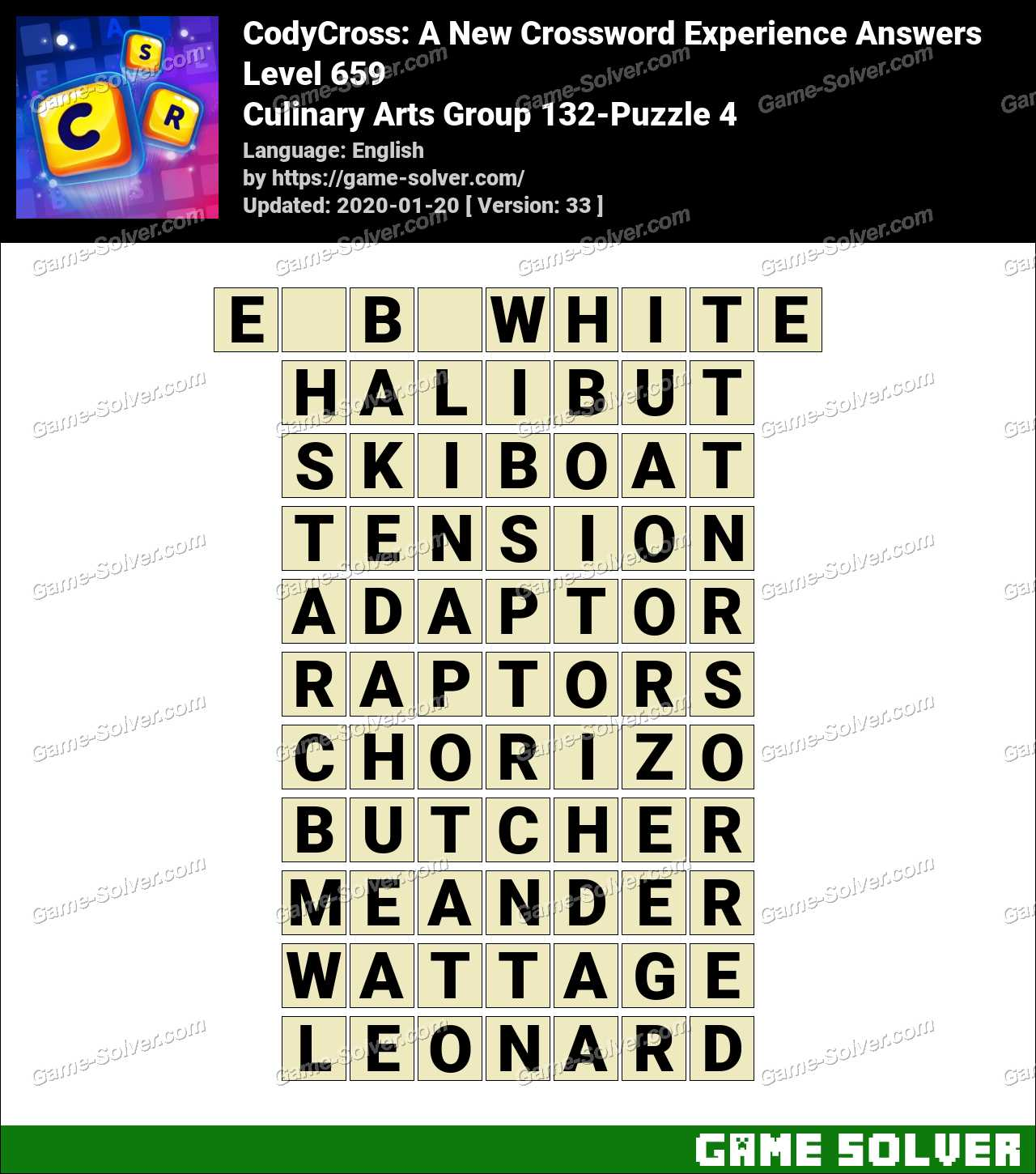 CodyCross Culinary Arts Group 132-Puzzle 4 Answers