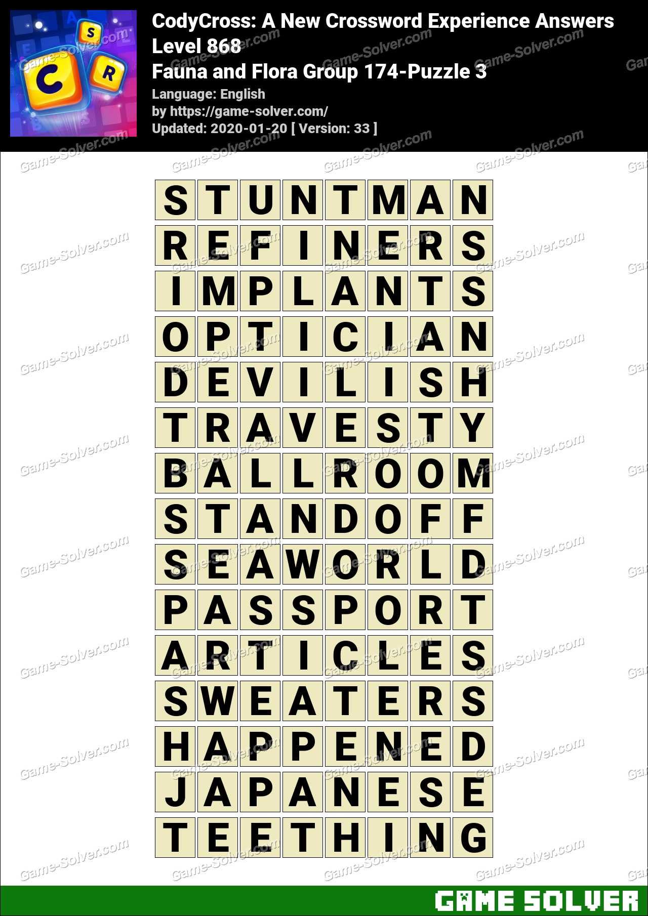 CodyCross Fauna and Flora Group 174-Puzzle 3 Answers