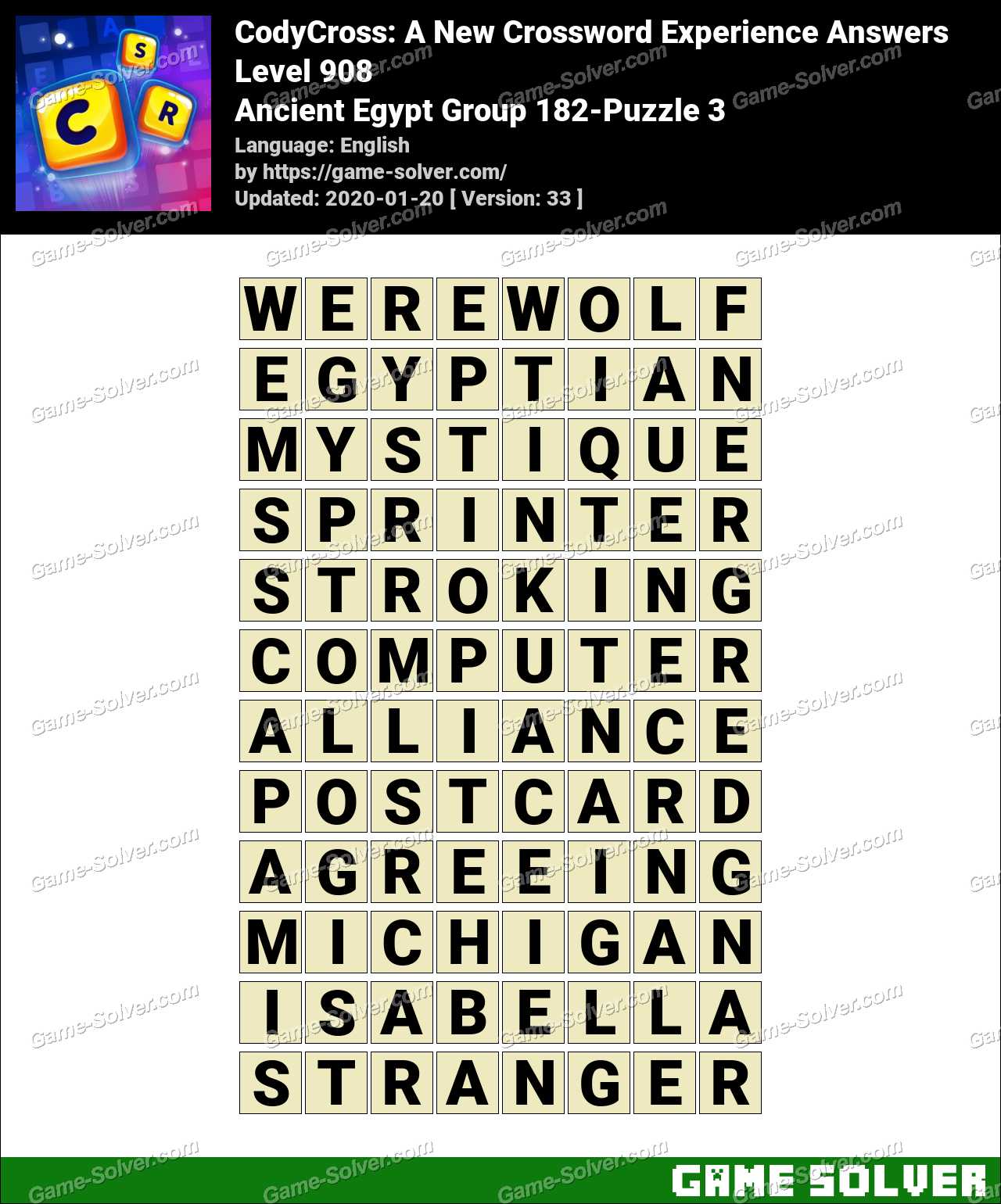CodyCross Ancient Egypt Group 182-Puzzle 3 Answers